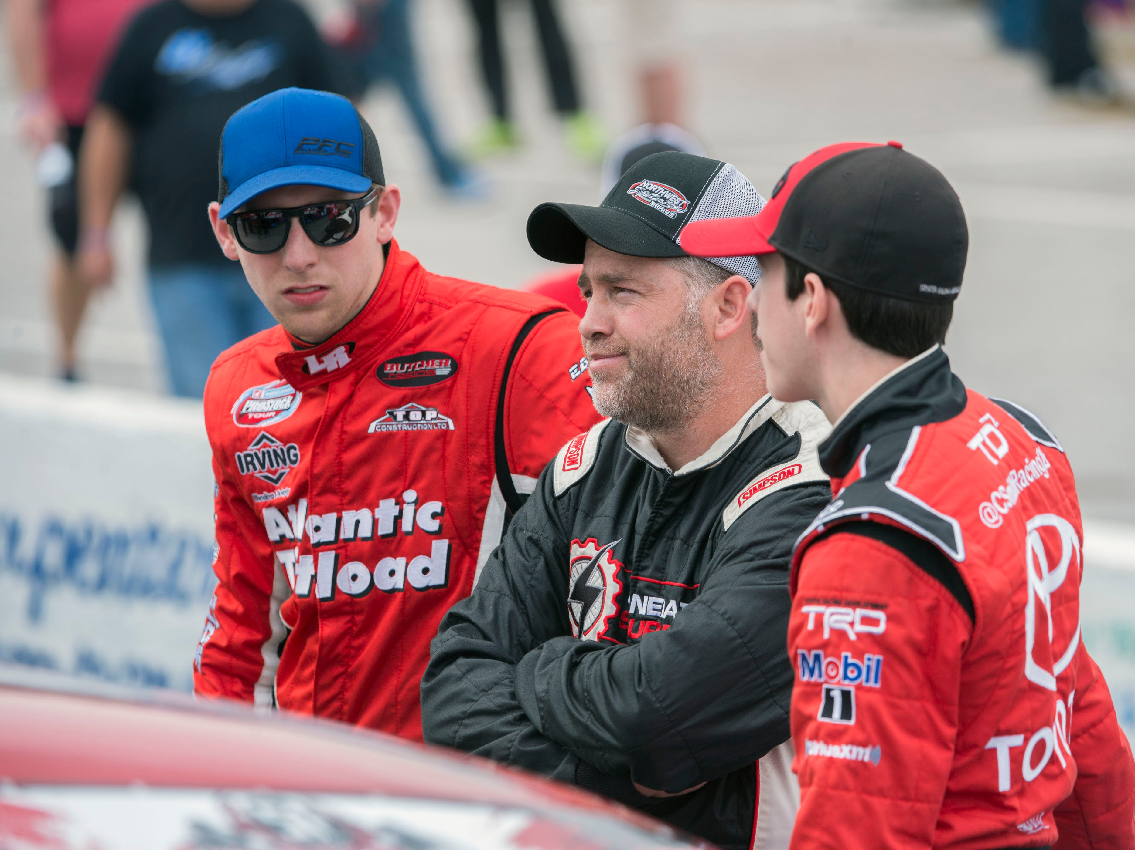 Drivers chat before the race Sunday, December 2, 2018 during the 51st annual Snowball Derby at Five Flags Speedway.