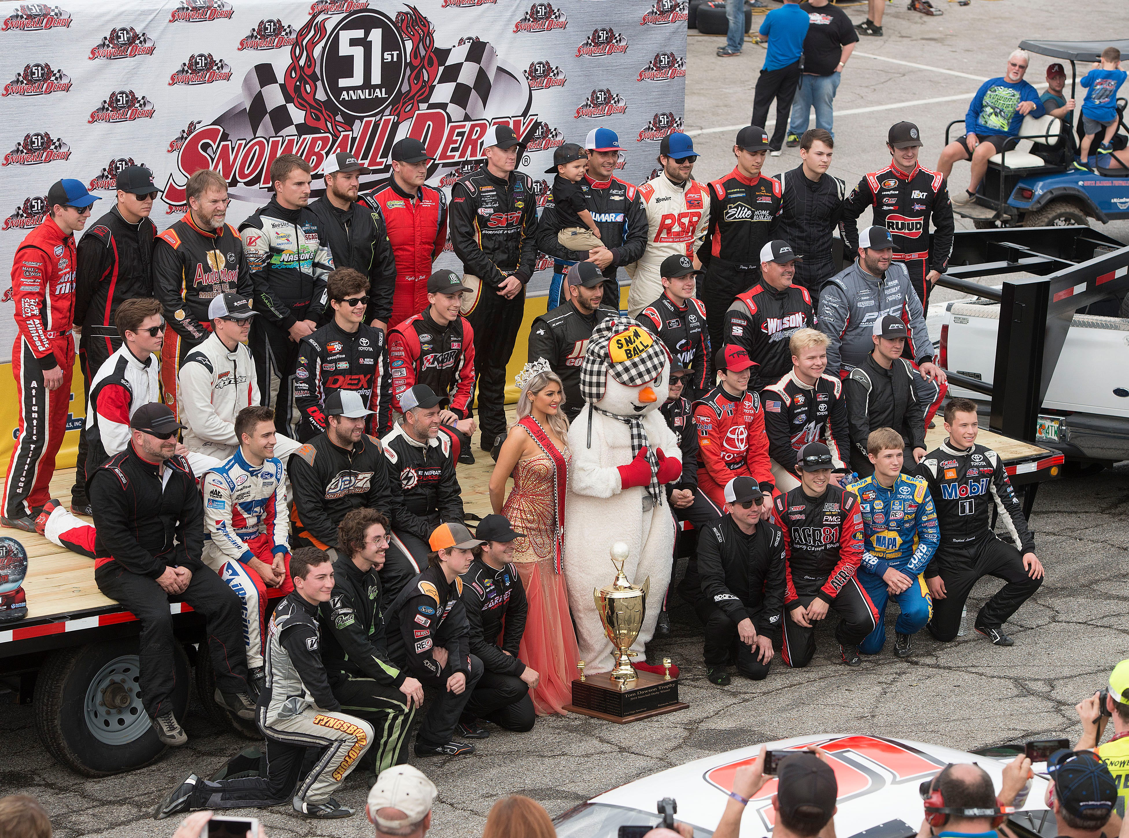 Drivers pose for a group shot Sunday, December 2, 2018 during the 51st annual Snowball Derby at Five Flags Speedway.
