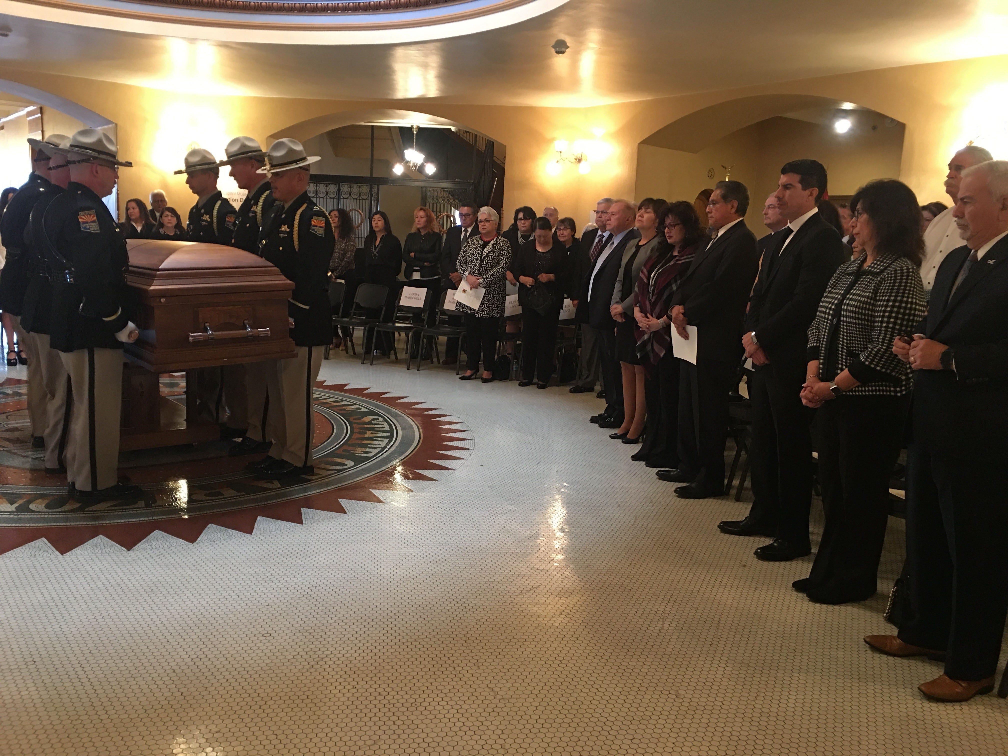 Mourners pay respects to former Rep. Ed Pastor at the Arizona Capitol.