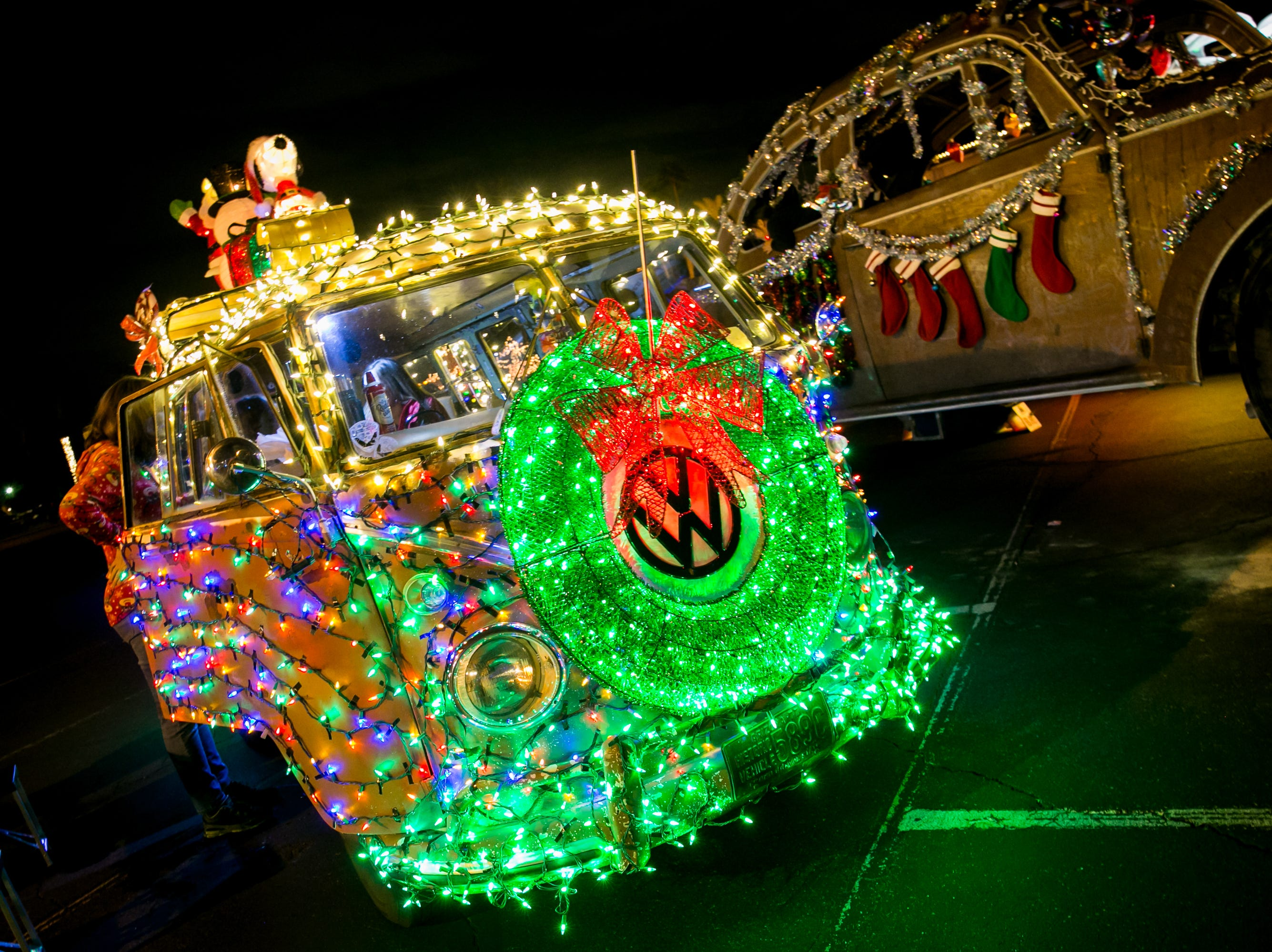 The VW buses looked awesome during the APS Electric Light Parade in Central Phoenix on Saturday, December 1, 2018.