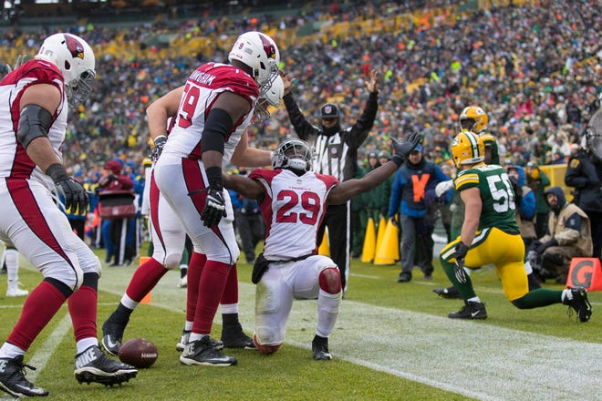 Dec 2, 2018: Arizona Cardinals running back Chase Edmonds (29) celebrates with teammates after scoring a touchdown during the third quarter against the Green Bay Packers at Lambeau Field.