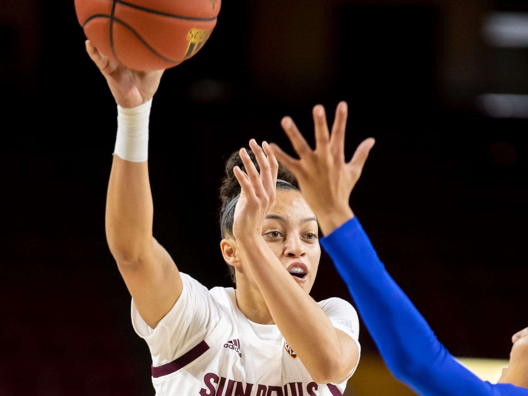 Guard Reili Richardson (1) of the Arizona State Sun Devils passes against Tulsa Golden Hurricane at Wells Fargo Arena on Sunday, December 2, 2018 in Tempe, Arizona.