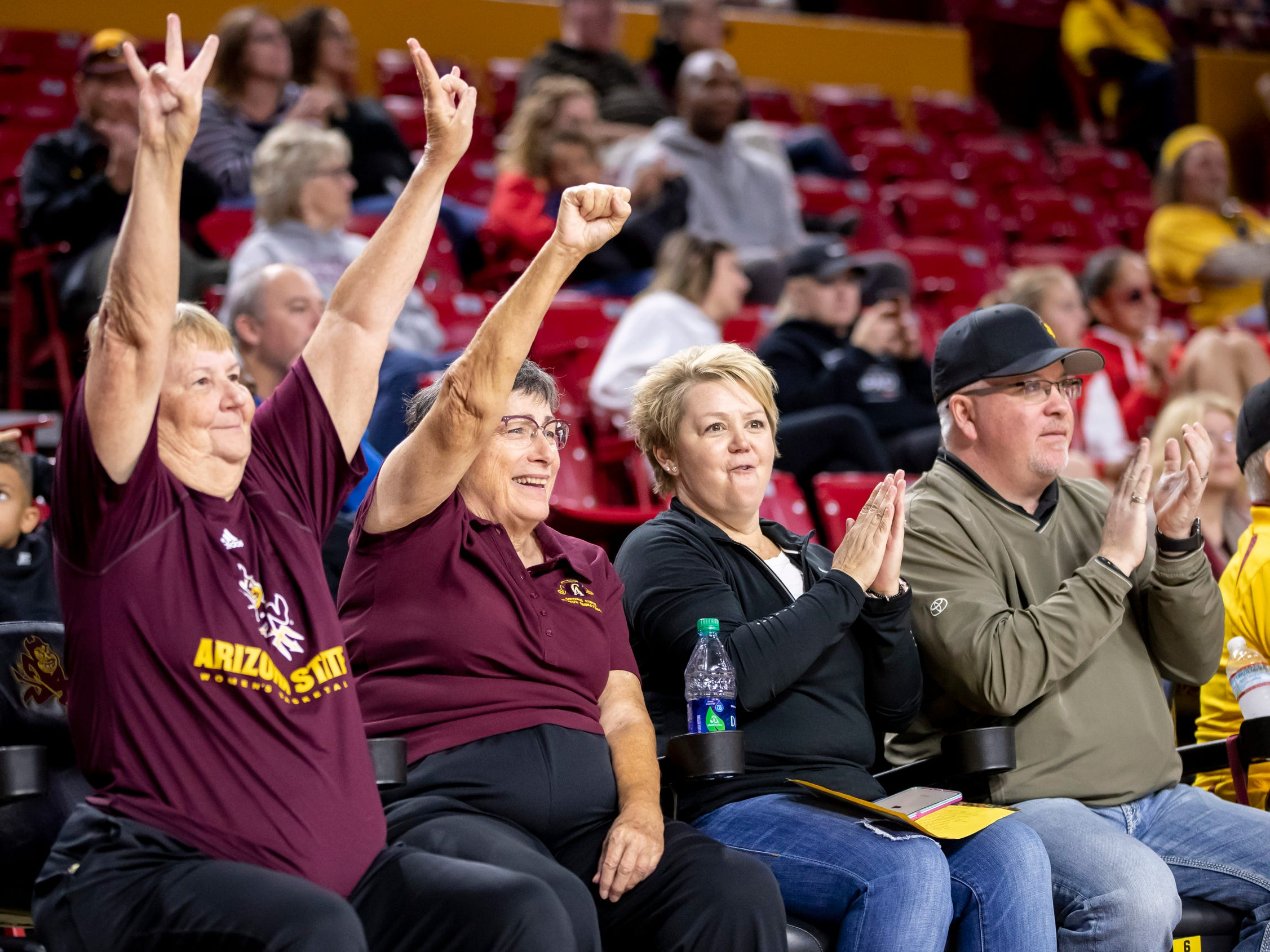 Arizona State Sun Devil fans cheer during the game against Tulsa Golden Hurricane at Wells Fargo Arena on Sunday, December 2, 2018 in Tempe, Arizona.