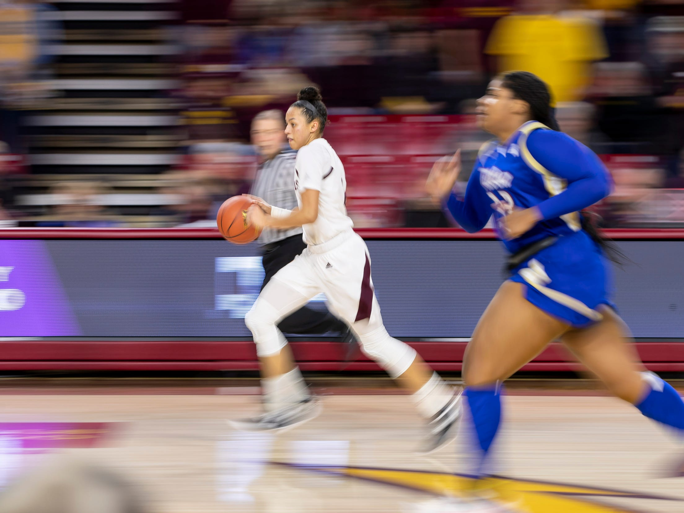 Guard Reili Richardson (1) of the Arizona State Sun Devils dribbles down court against Tulsa Golden Hurricane at Wells Fargo Arena on Sunday, December 2, 2018 in Tempe, Arizona.