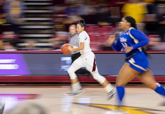 Guard Reili Richardson (1) of the Arizona State Sun Devils dribbles down court against Tulsa Golden Hurricane at Wells Fargo Arena on Sunday, December 2, 2018 in Tempe, Arizona.