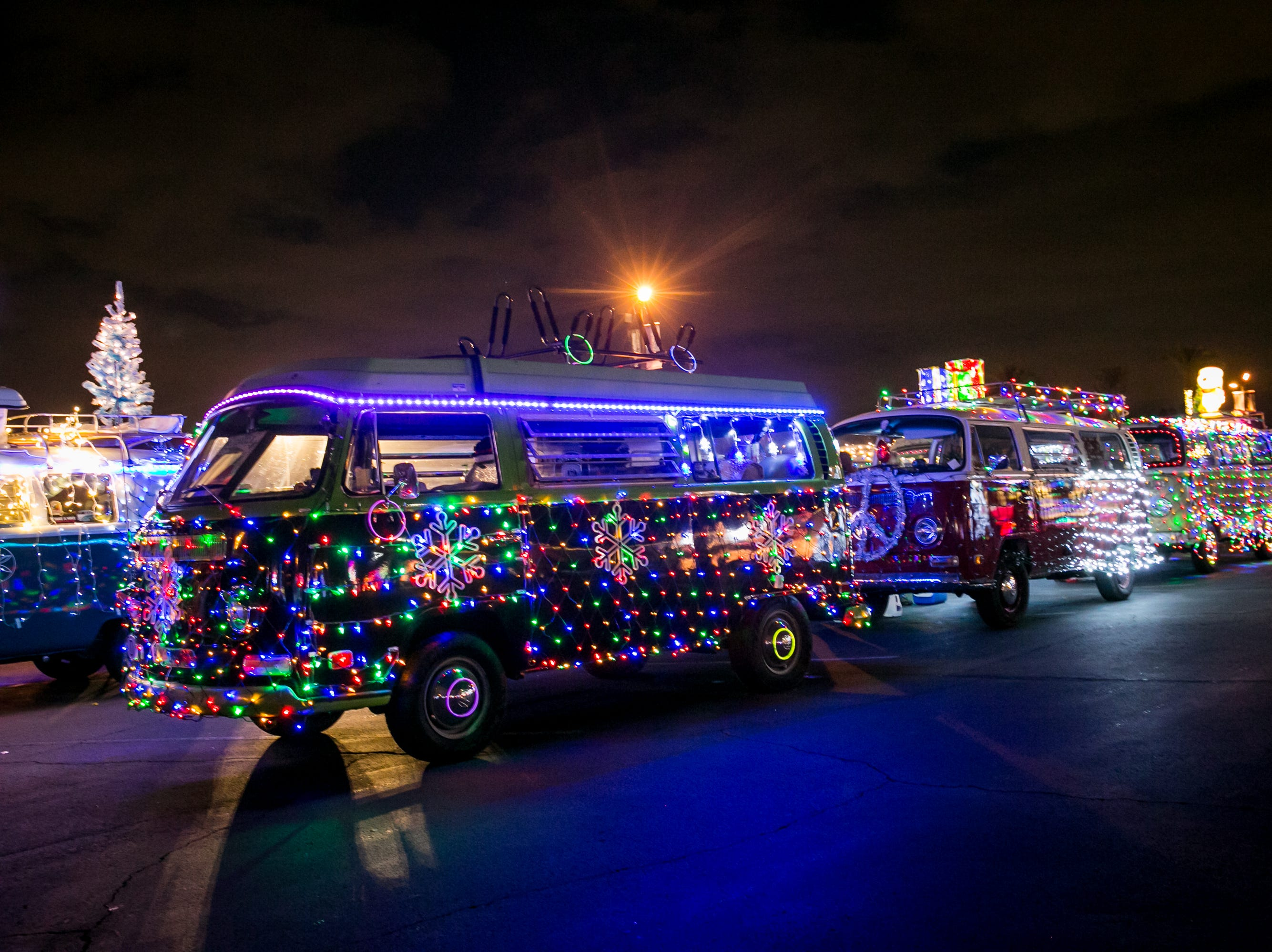 There were tons of lit up Volkswagen buses during the APS Electric Light Parade in Central Phoenix on Saturday, December 1, 2018.