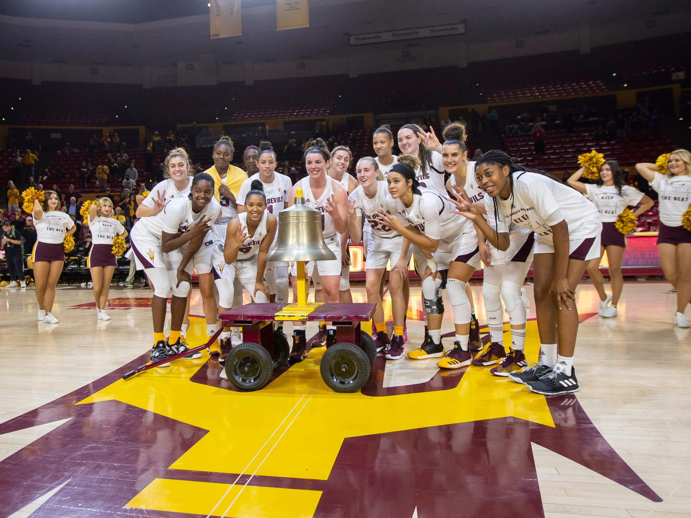 The Arizona State Sun Devils following their win against Tulsa Golden Hurricane at Wells Fargo Arena on Sunday, December 2, 2018 in Tempe, Arizona.