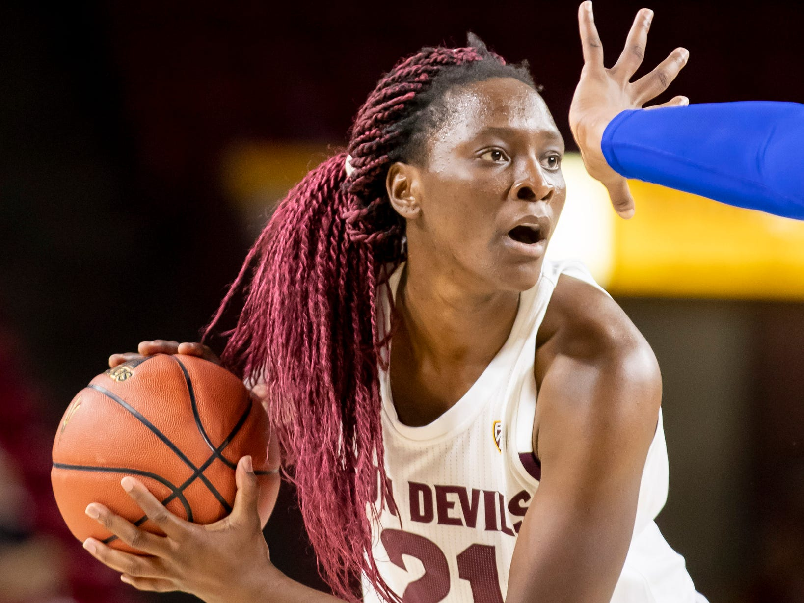 Forward Sophia Elenga (21) of the Arizona State Sun Devils looks to pass against Tulsa Golden Hurricane at Wells Fargo Arena on Sunday, December 2, 2018 in Tempe, Arizona.