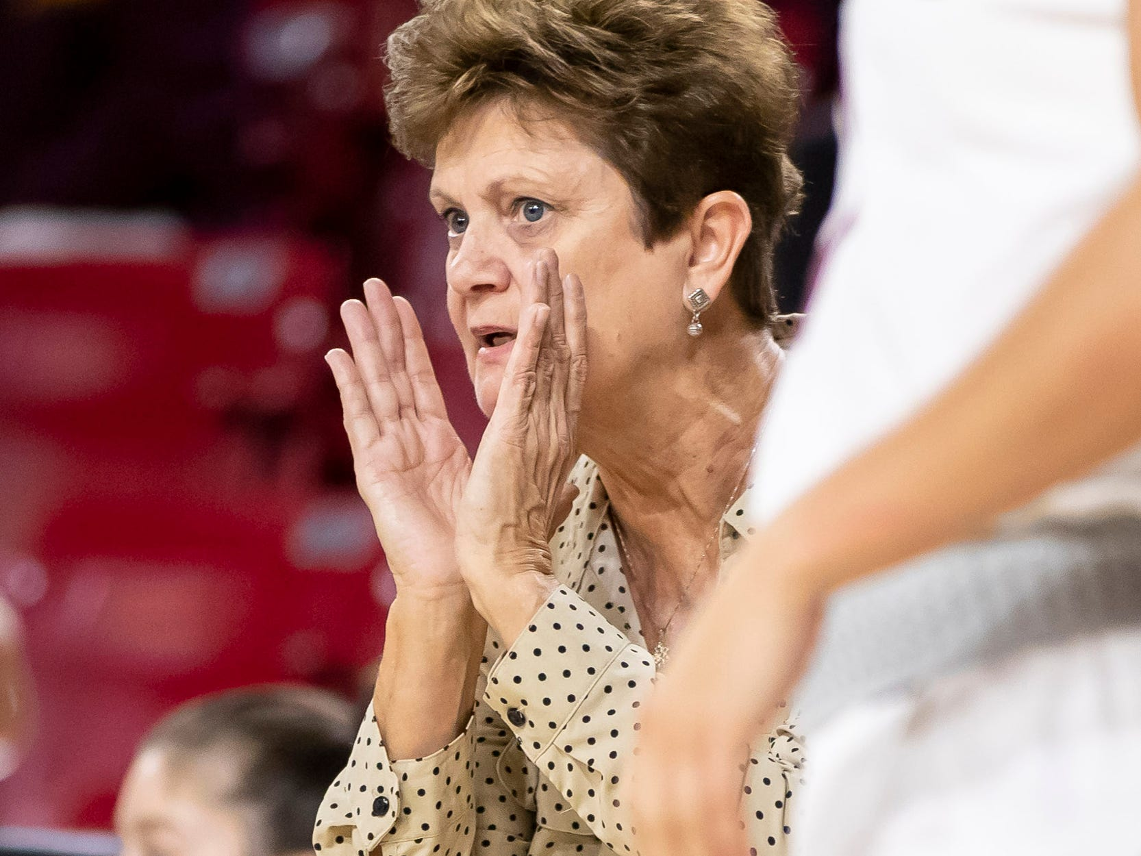 Head coach Matilda Mossman of the Tulsa Golden Hurricane yells during the game against the Arizona State Sun Devils at Wells Fargo Arena on Sunday, December 2, 2018 in Tempe, Arizona.