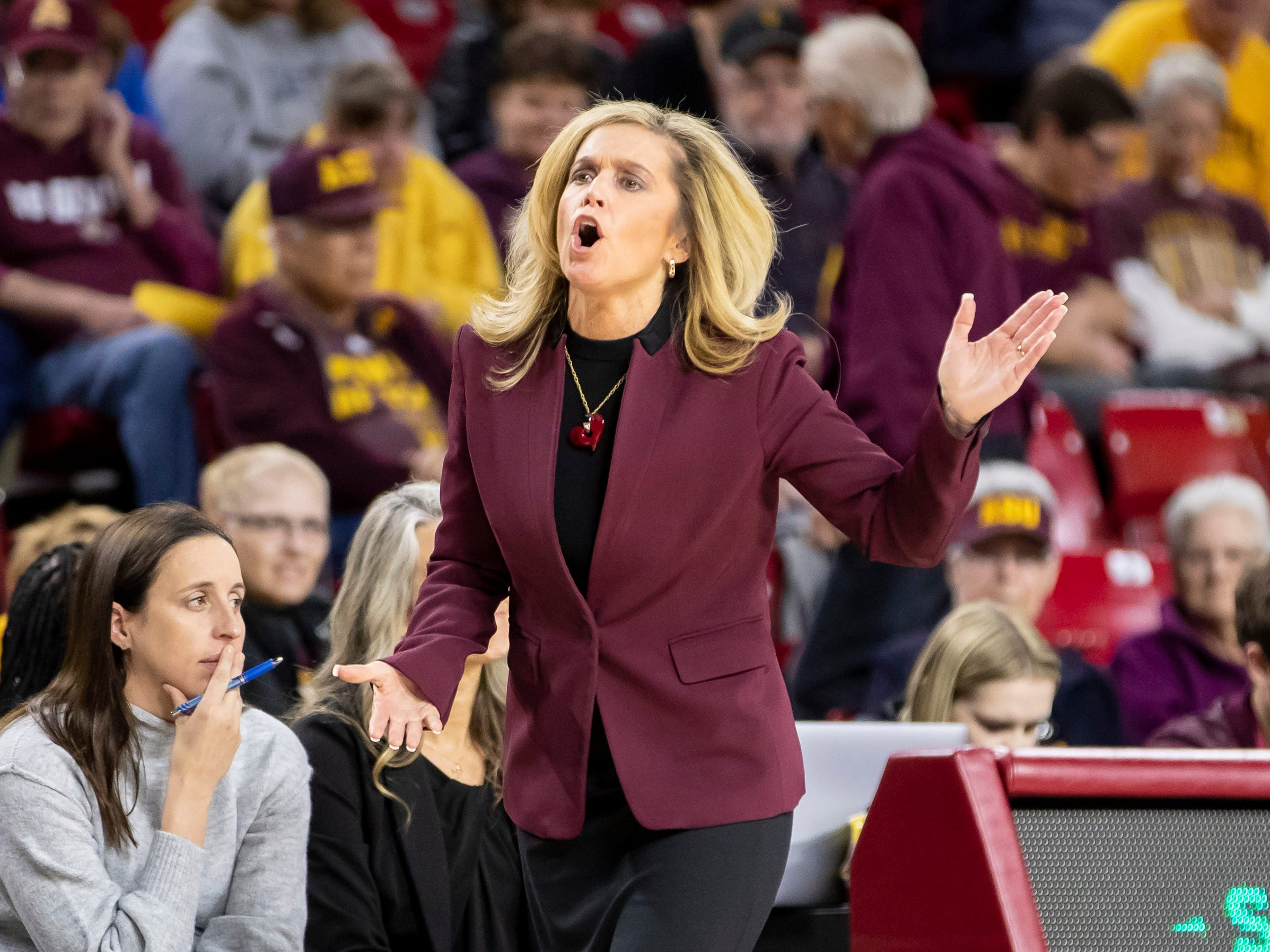 Head coach Charli Turner Thorne of the Arizona State Sun Devils reacts to a call during the game against  Tulsa Golden Hurricane at Wells Fargo Arena on Sunday, December 2, 2018 in Tempe, Arizona.