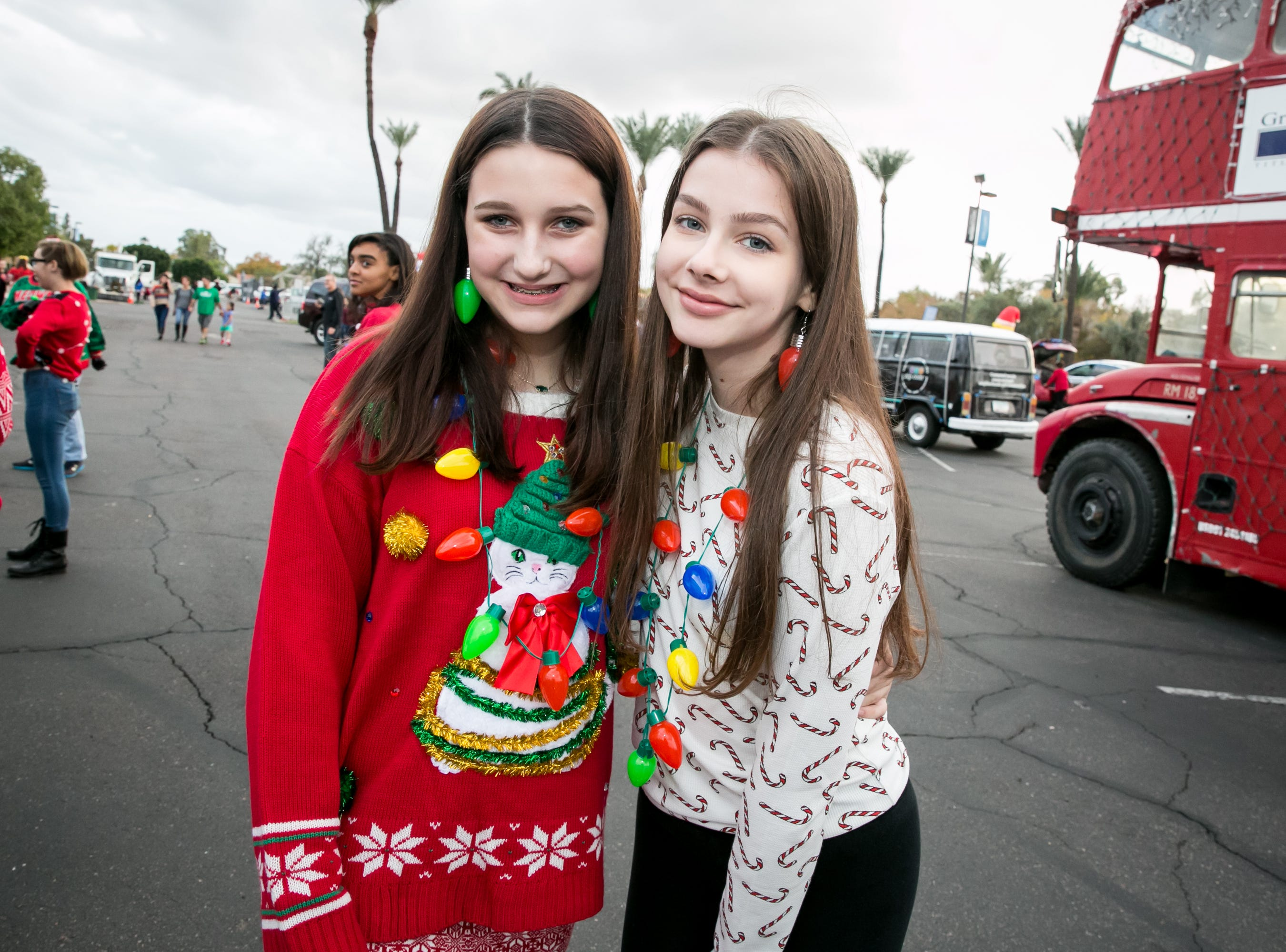 These two made great jewelry choices during the APS Electric Light Parade in Central Phoenix on Saturday, December 1, 2018.