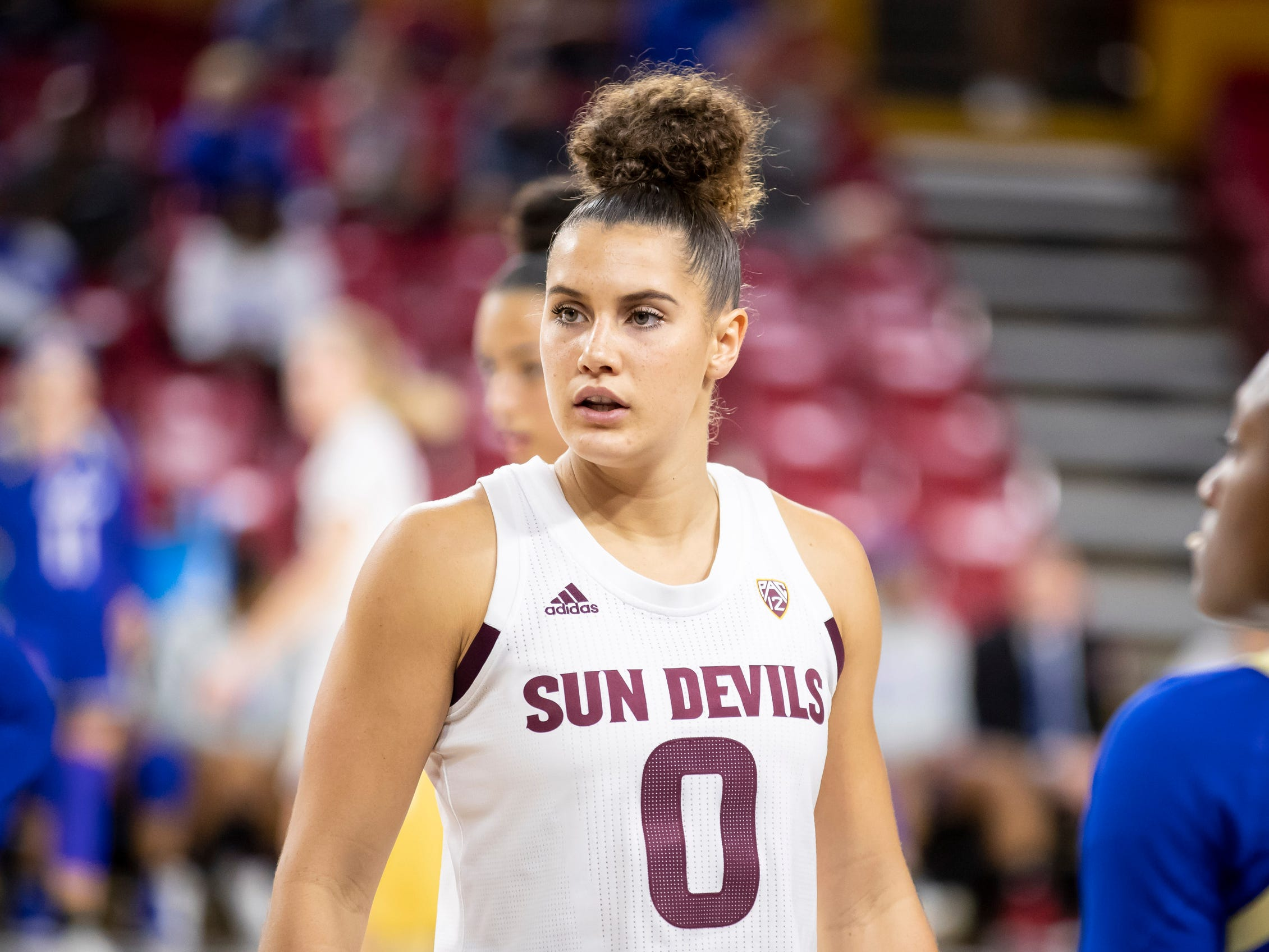 Guard Taya Hanson (0) of the Arizona State Sun Devils looks on during the game against Tulsa Golden Hurricane at Wells Fargo Arena on Sunday, December 2, 2018 in Tempe, Arizona.
