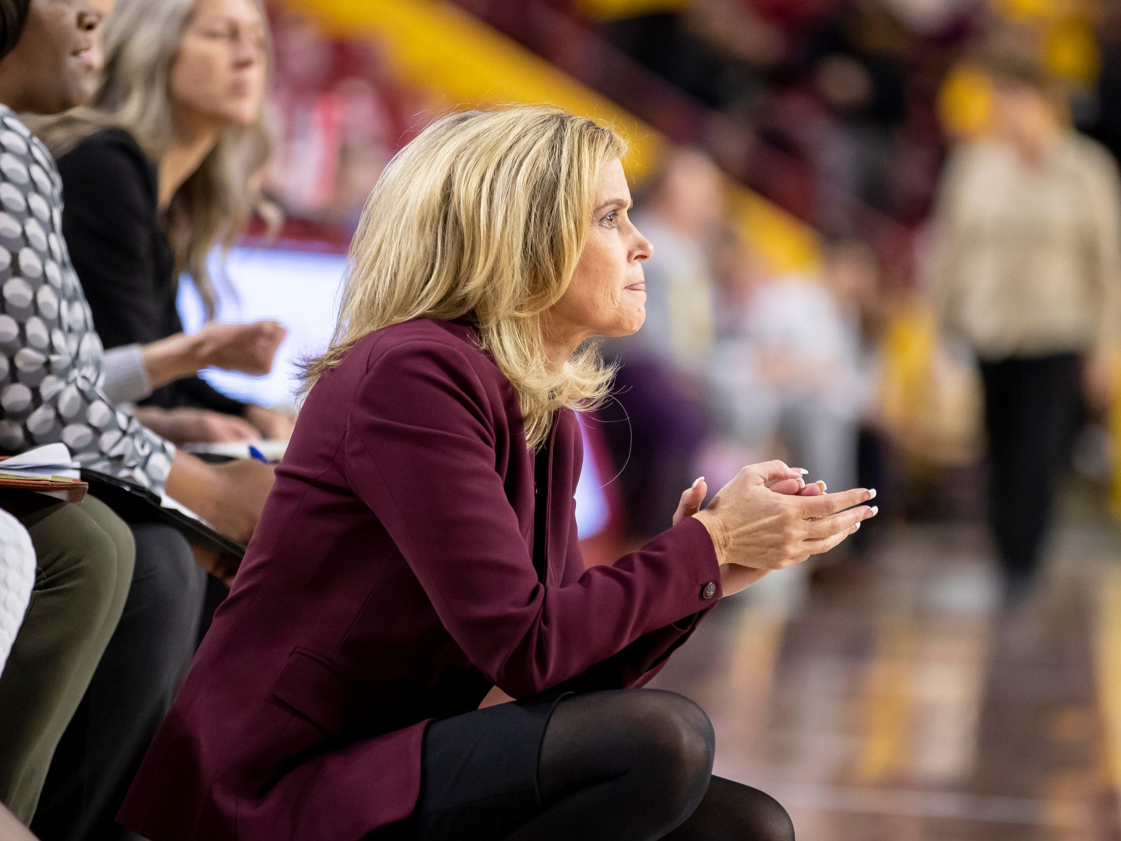 Head coach Charli Turner Thorne of the Arizona State Sun Devils looks on during the game against Tulsa Golden Hurricane at Wells Fargo Arena on Sunday, December 2, 2018 in Tempe, Arizona.