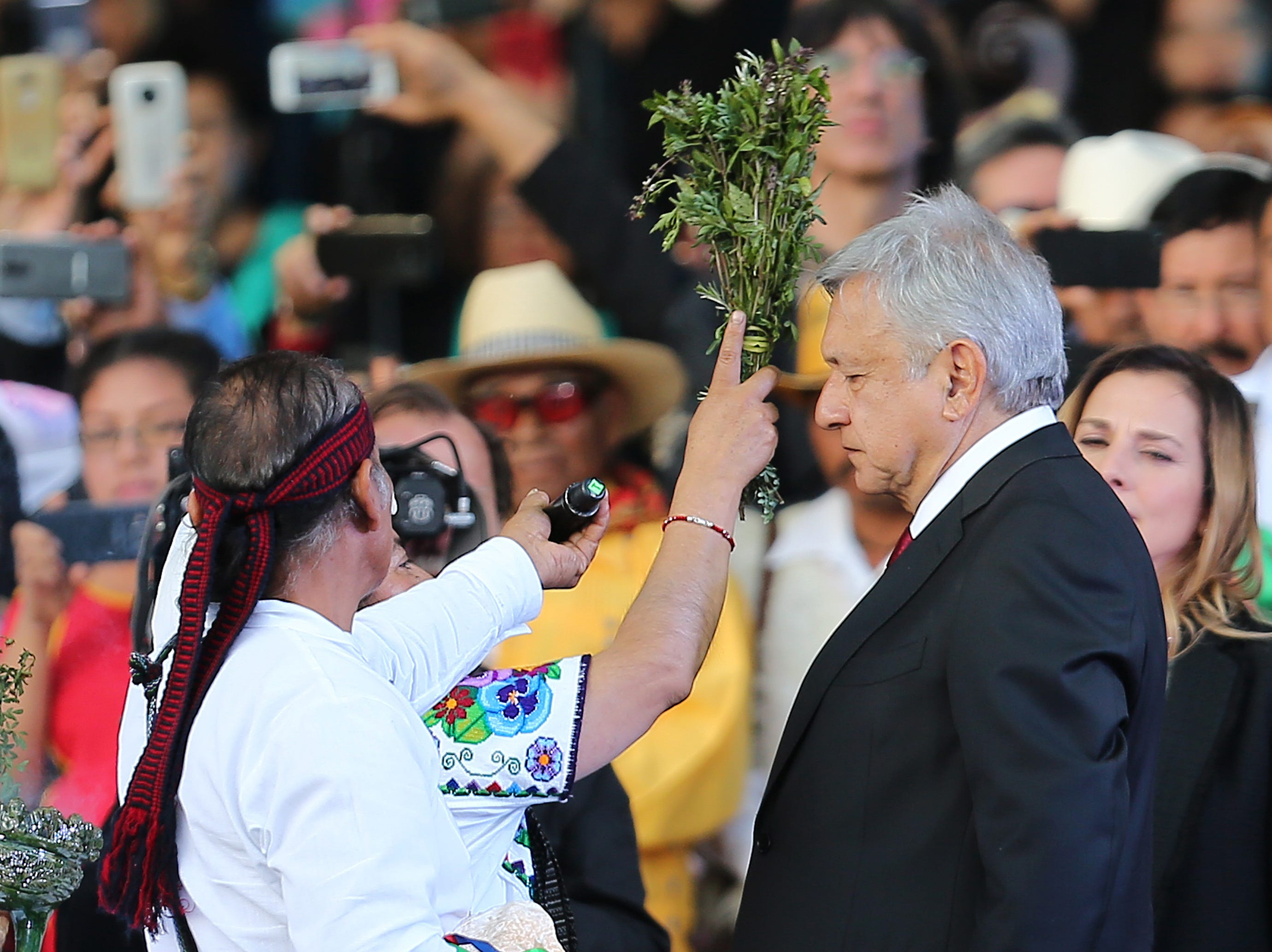 MEXICO CITY, MEXICO - DECEMBER 01: Andres Manuel Lopez Obrador President of Mexico takes part in an indigenous ceremony during the events of the Presidential Investiture as part of the 65th Mexico Presidential Inauguration at Zocalo on December 01, 2018 in Mexico City, Mexico. (Photo by Manuel Velasquez/Getty Images)