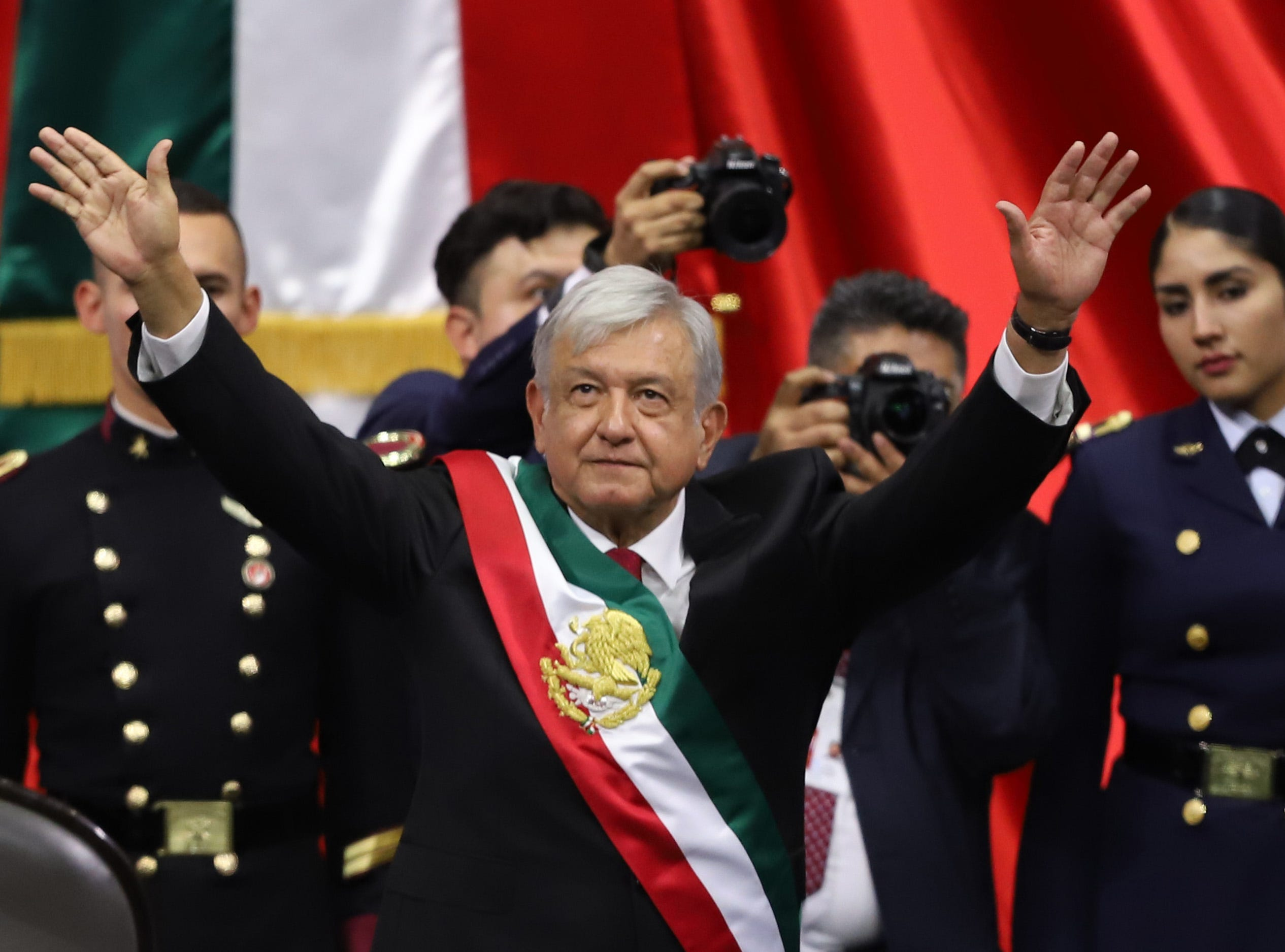 MEXICO CITY, MEXICO - DECEMBER 01: Newly appointed Mexican President Andres Manuel Lopez Obrador waves after the swearing-in ceremony during the events of the Presidential Investiture as part of the 65th Mexico Presidential Inauguration at Congress of the Union on December 01, 2018 in Mexico City, Mexico. (Photo by Getty Images/Getty Images)