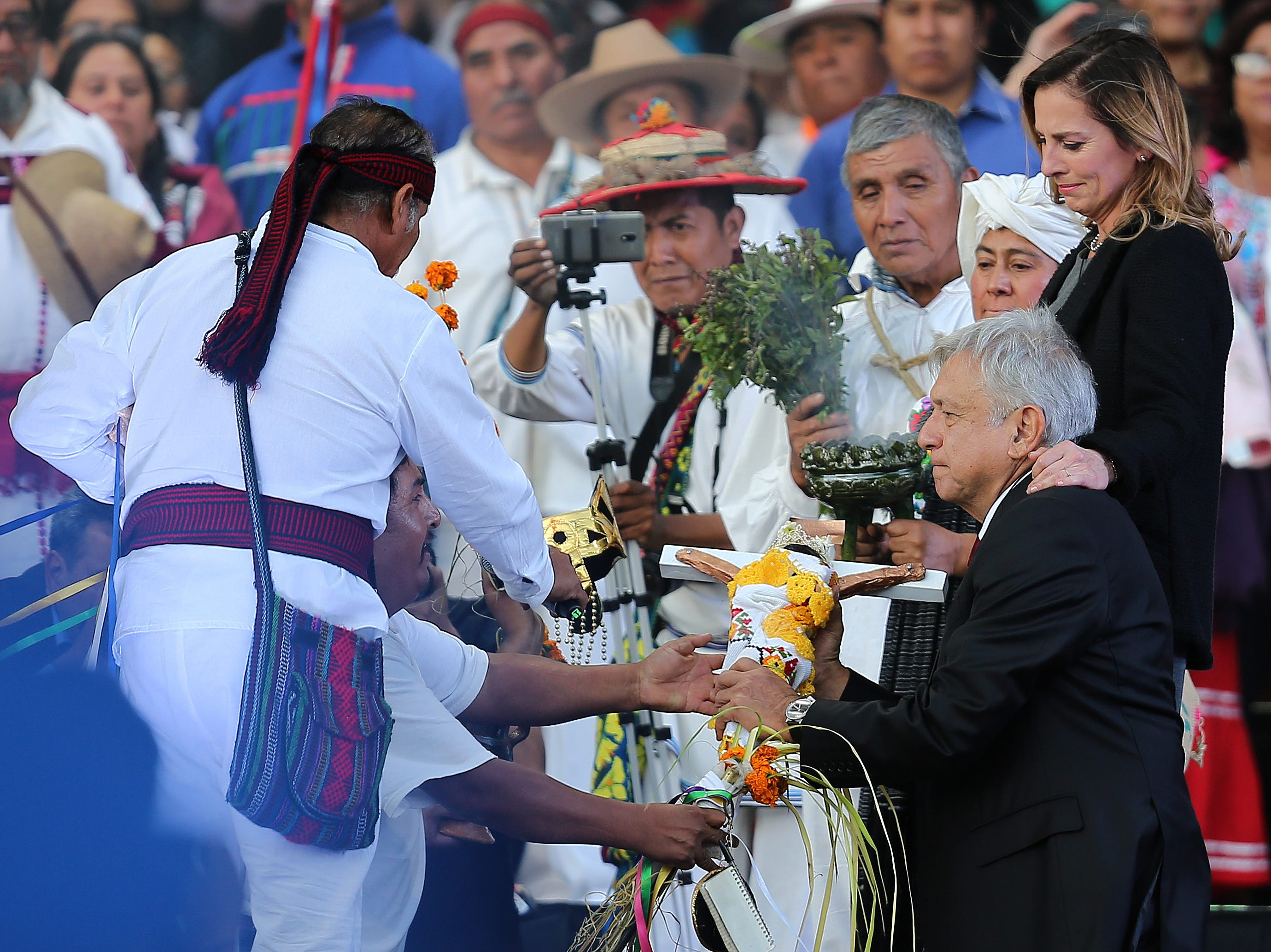 MEXICO CITY, MEXICO - DECEMBER 01: Andres Manuel Lopez Obrador President of Mexico takes part in an indigenpus ceremony during the events of the Presidential Investiture as part of the 65th Mexico Presidential Inauguration at Zocalo on December 01, 2018 in Mexico City, Mexico. (Photo by Manuel Velasquez/Getty Images)