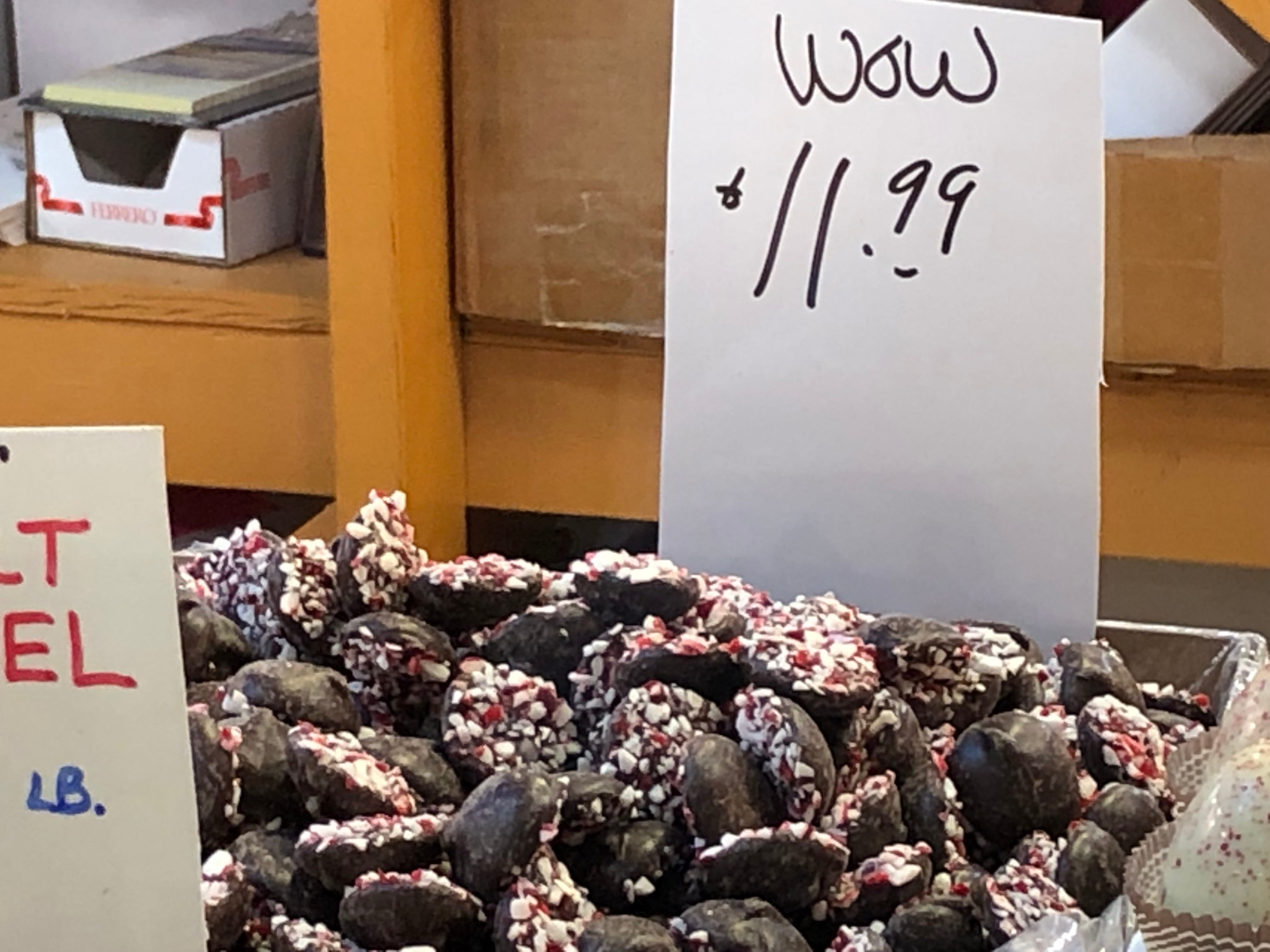 """Simply marked """"wow"""" on display, this is peppermint bark on dark chocolate Wilbur buds made in Philadelphia. """"Peppermint bark is always a big favorite,"""" said Carey."""