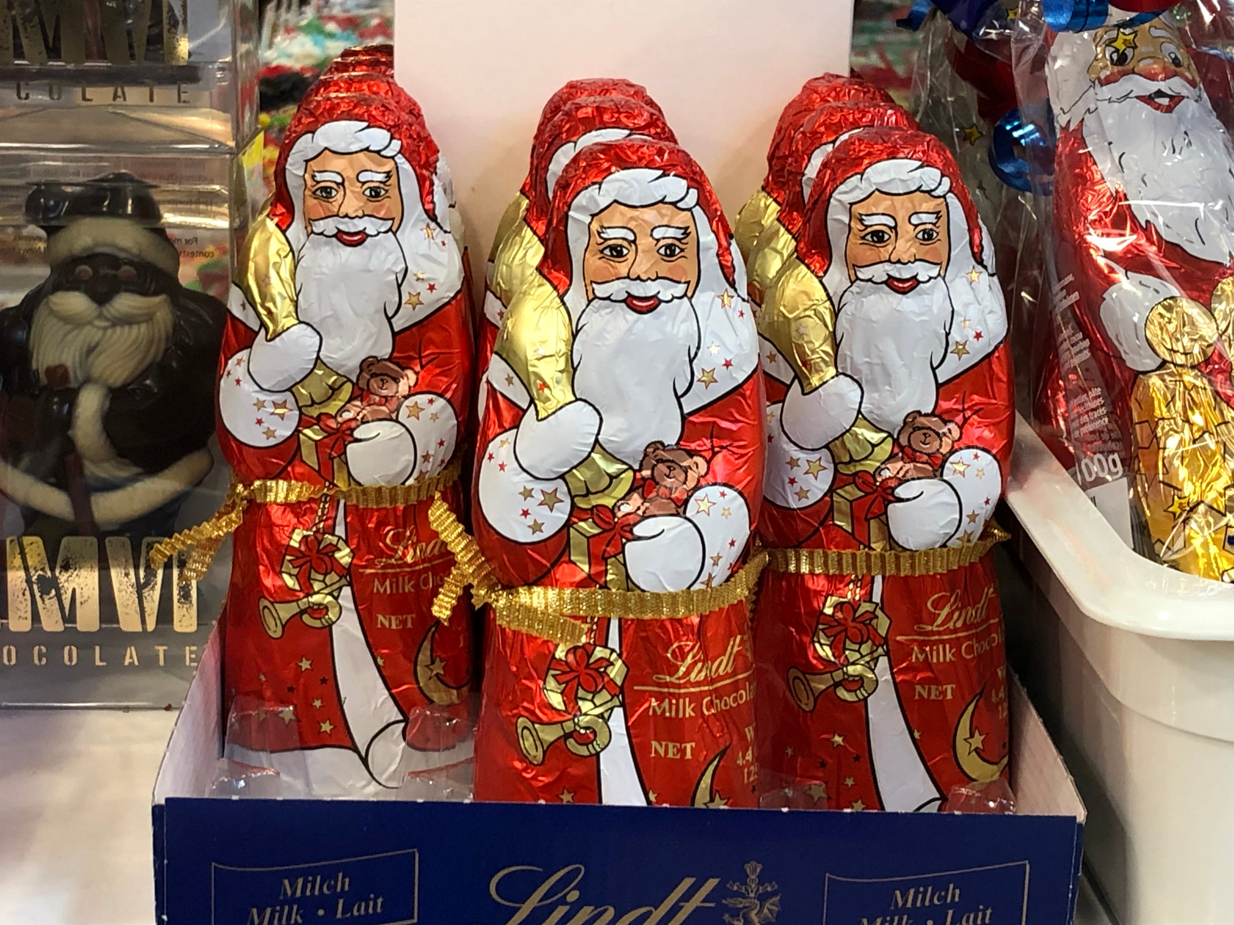 More individually wrapped milk chocolate, only this chocolate Santa Claus weighs in nearly three times large than your standard Hershey bar.