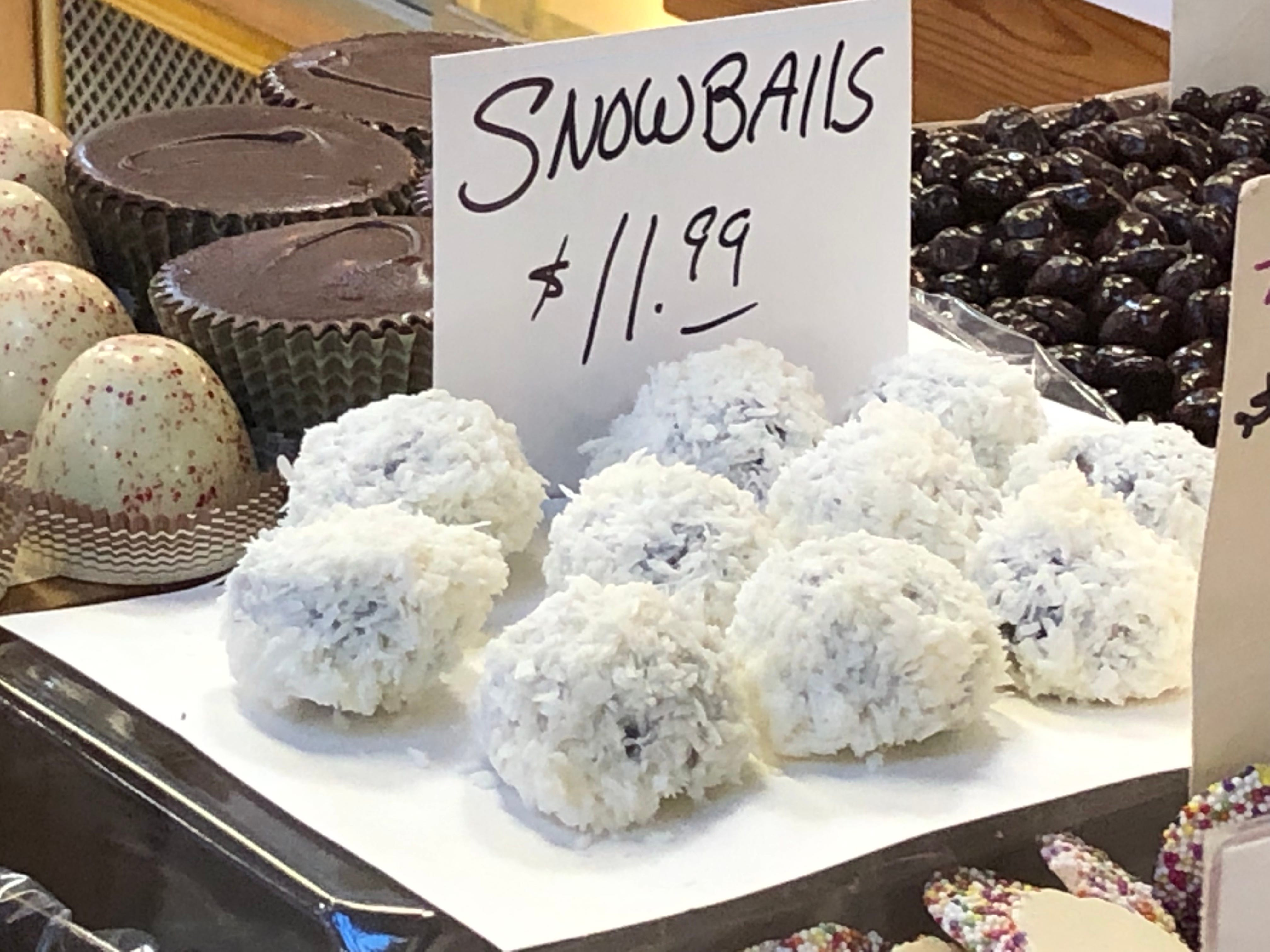 These coconut-covered snowballs contain chocolate cookie and creamy nougat inside, plus fit perfectly with a holiday/winter theme.