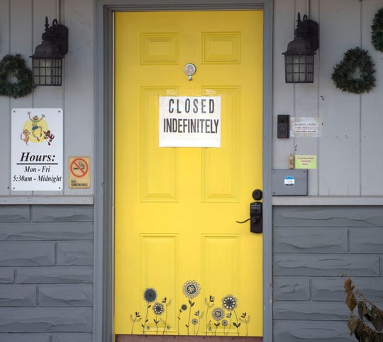 A sign on the door at Miracle Bush Learning Center at 9540 Molly Pitcher Highway, Shippensburg. Owners of the daycare business are accused of mistreating more than a dozen children by restraining them, restricting food and not allowing them to use the restroom.