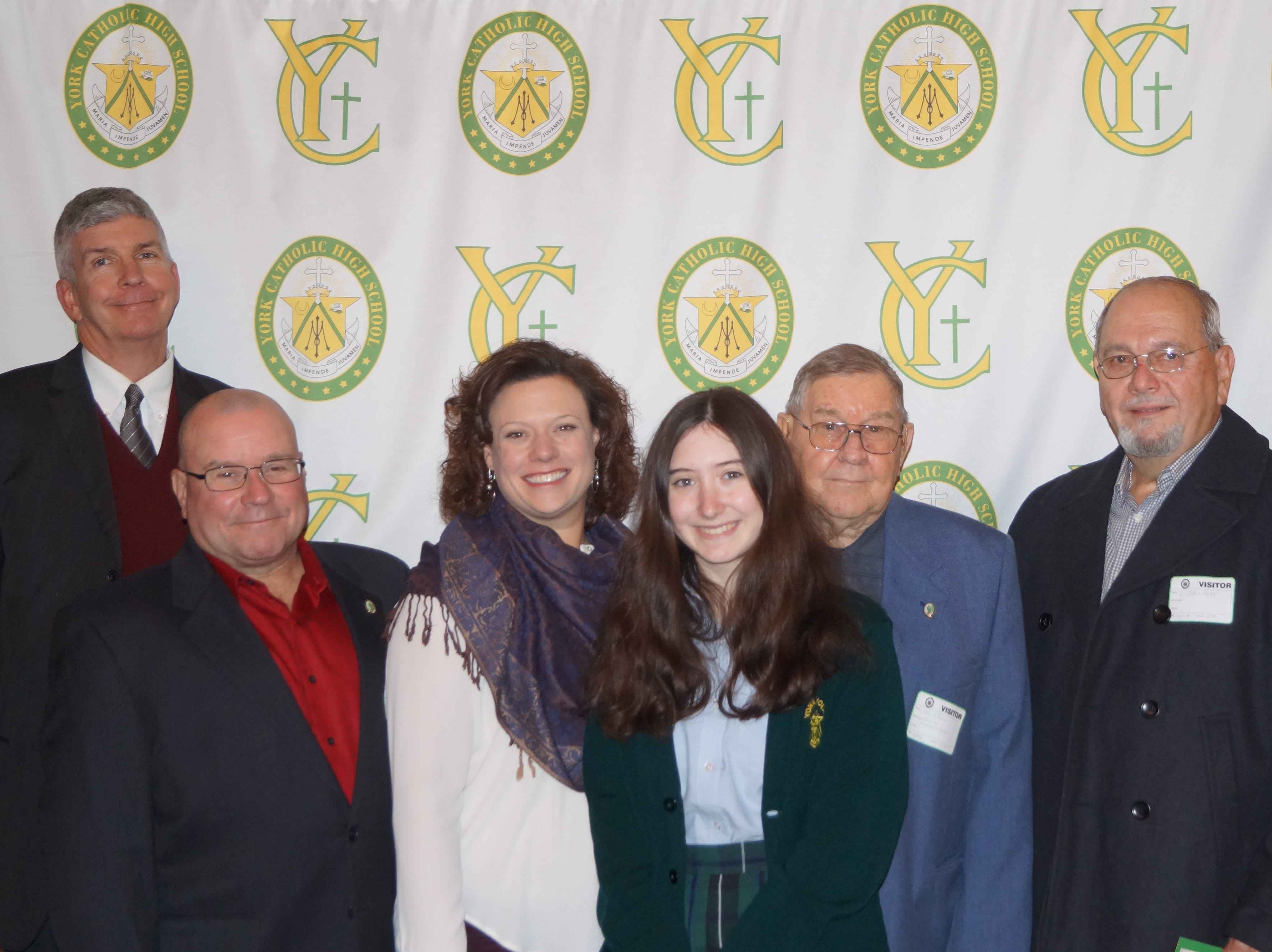 The Knights of St. Paul Roman Catholic Beneficial Association have been granting tuition assistance scholarships to students at York Catholic Junior High School and Senior High School since 2001.  The recipients for 2018-19 are Hannah Fischer and Riley Maynard. From left are Joe Keffer, Knights of St. Paul Recording Secretary; James Pichler, Knights of St. Paul Trustee; Katie Seufert, York Catholic Principal; Hannah Fischer, recipient; Paul Pichler, Knights of St. Paul Treasurer; E. John Fedor, Knights of St. Paul President; James Schneider, Knights of St. Paul Assistant Treasurer. submitted