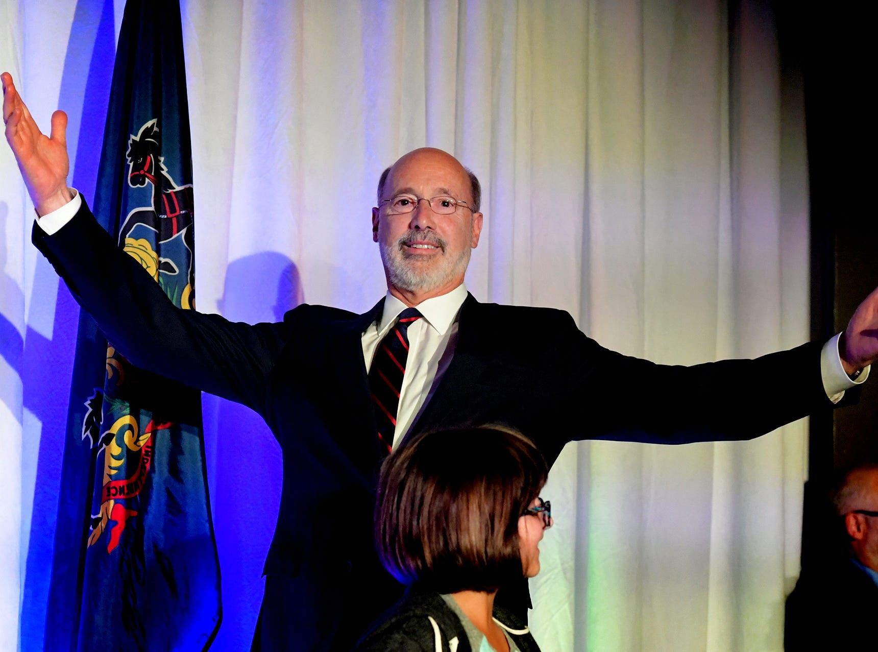 Gov. Tom Wolf takes the stage to give a victory speech during the campaign's Election Night Party at the Bond in York City Tuesday, Nov. 6, 2018. Wolf defeated challenger Scott Wagner to win a second term. Bill Kalina photo
