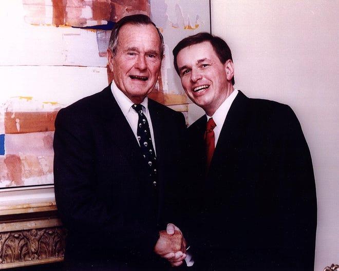 York-based presidential historian John Burke Jovich with President George H.W. Bush.