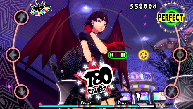 "Makoto sporting the Devil Wing DLC accessory from ""Persona 5: Dancing in Starlight."""