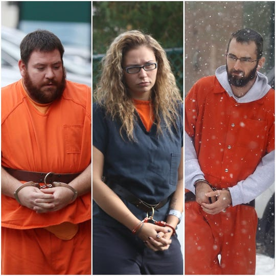 From left: Brian Bohlar, Charlene Childers and Timothy Dean. All three are charged in connection with the double homicide in Sodus October 22, 2018.