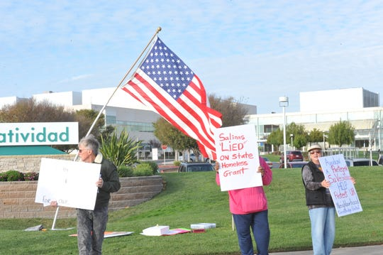 Protesters gathered Sunday at Laurel Drive and Constitution Boulevard to protest Salinas' proposed homeless shelter.
