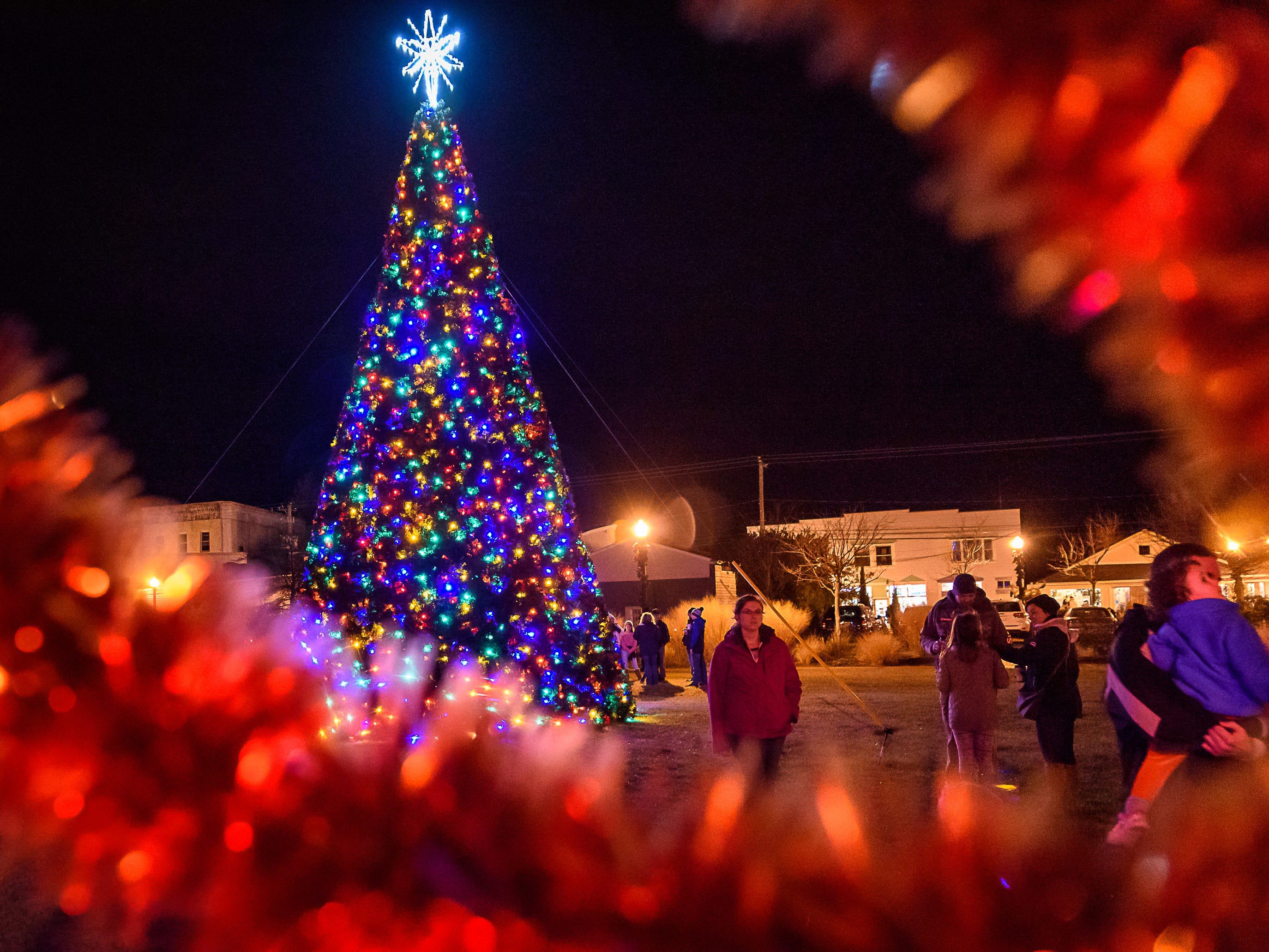 Residents admire Chincoteague's  Christmas tree lit in the downtown Robert Reed Park.