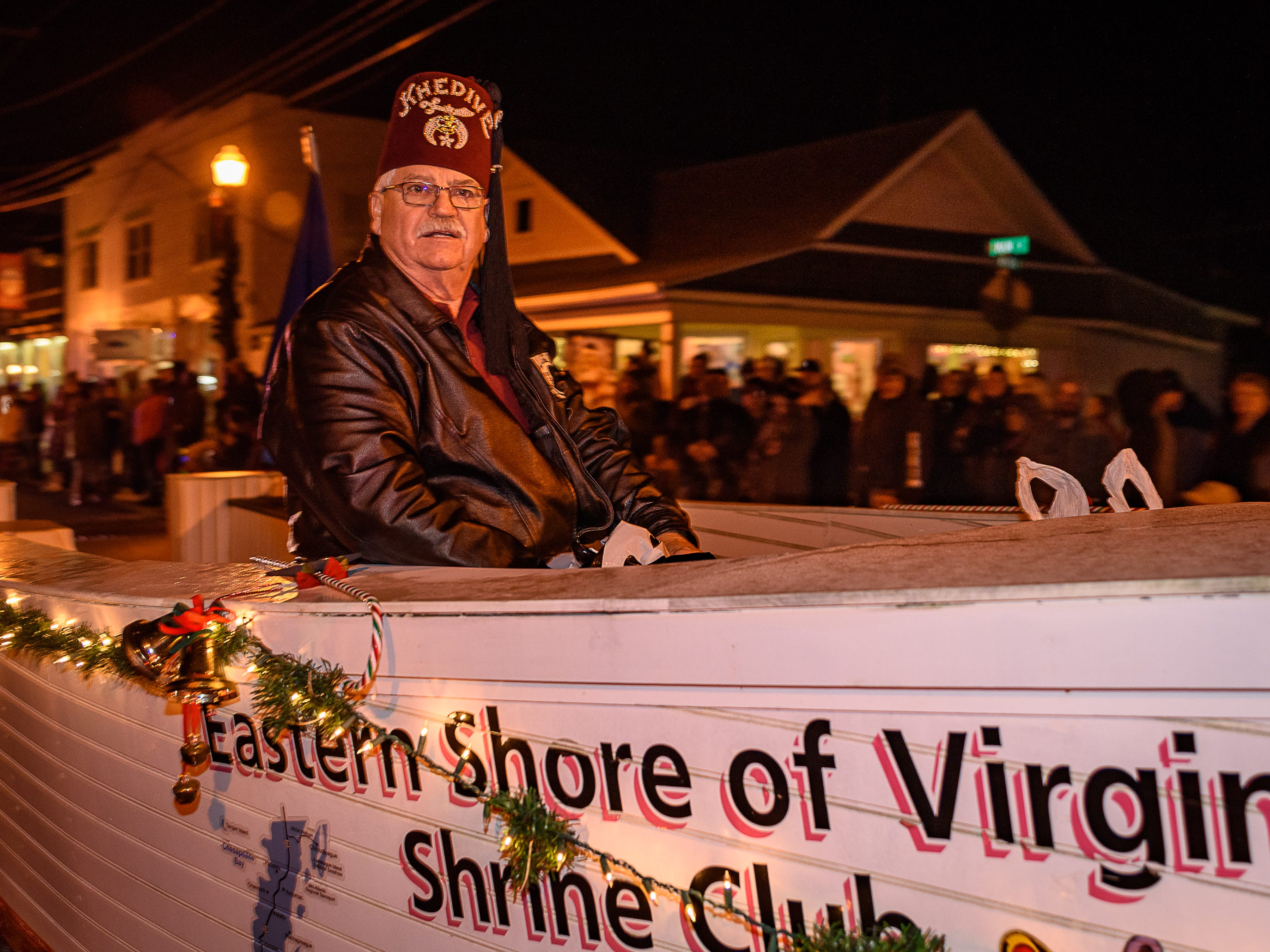 The Eastern Shore Shrine Club float rolls down the parade route in Chincoteague.