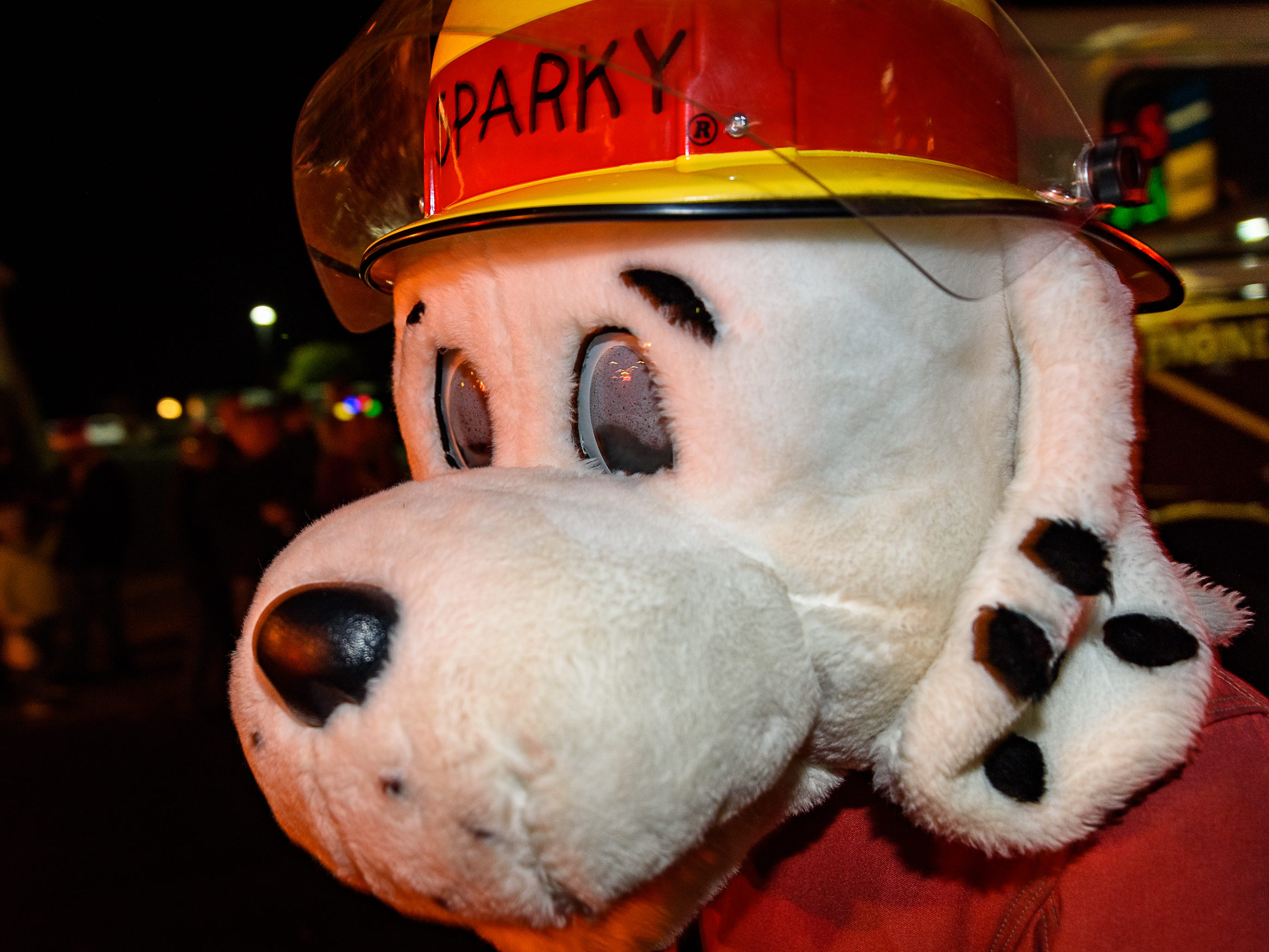 Sparky, Pocomoke fire department's mascot, takes part in the Chincoteague Christmas parade.