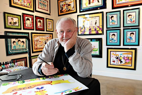 """In this undated photo, animation artist Ron Campbell works in his studio. Campbell is credited with the Beatles' 1968 """"Yellow Submarine"""" film as well as work on shows including """"The Jetsons,"""" """"The Flintstones"""" and """"Rugrats,"""" among dozens of others. He appears in Springfield on Dec. 11 and 12, 2018."""