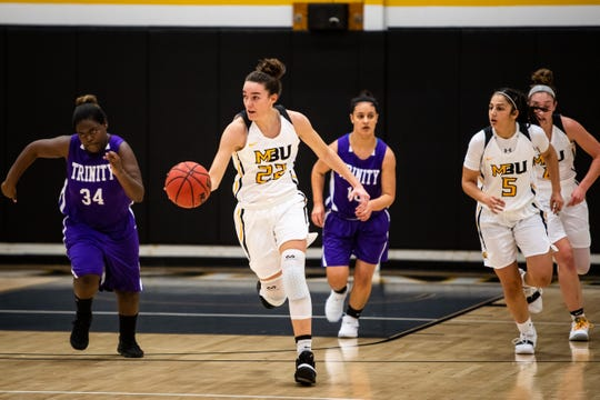 Mary Baldwin freshman and former Buffalo Gap standout Leah Calhoun brings the ball down court during a game against Trinity on Nov. 19.