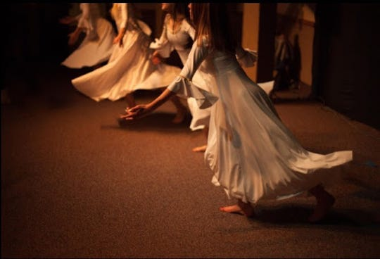 "Dancers perform at a rehearsal for ""Hope of the World,"" a dance production that tells the nativity story."