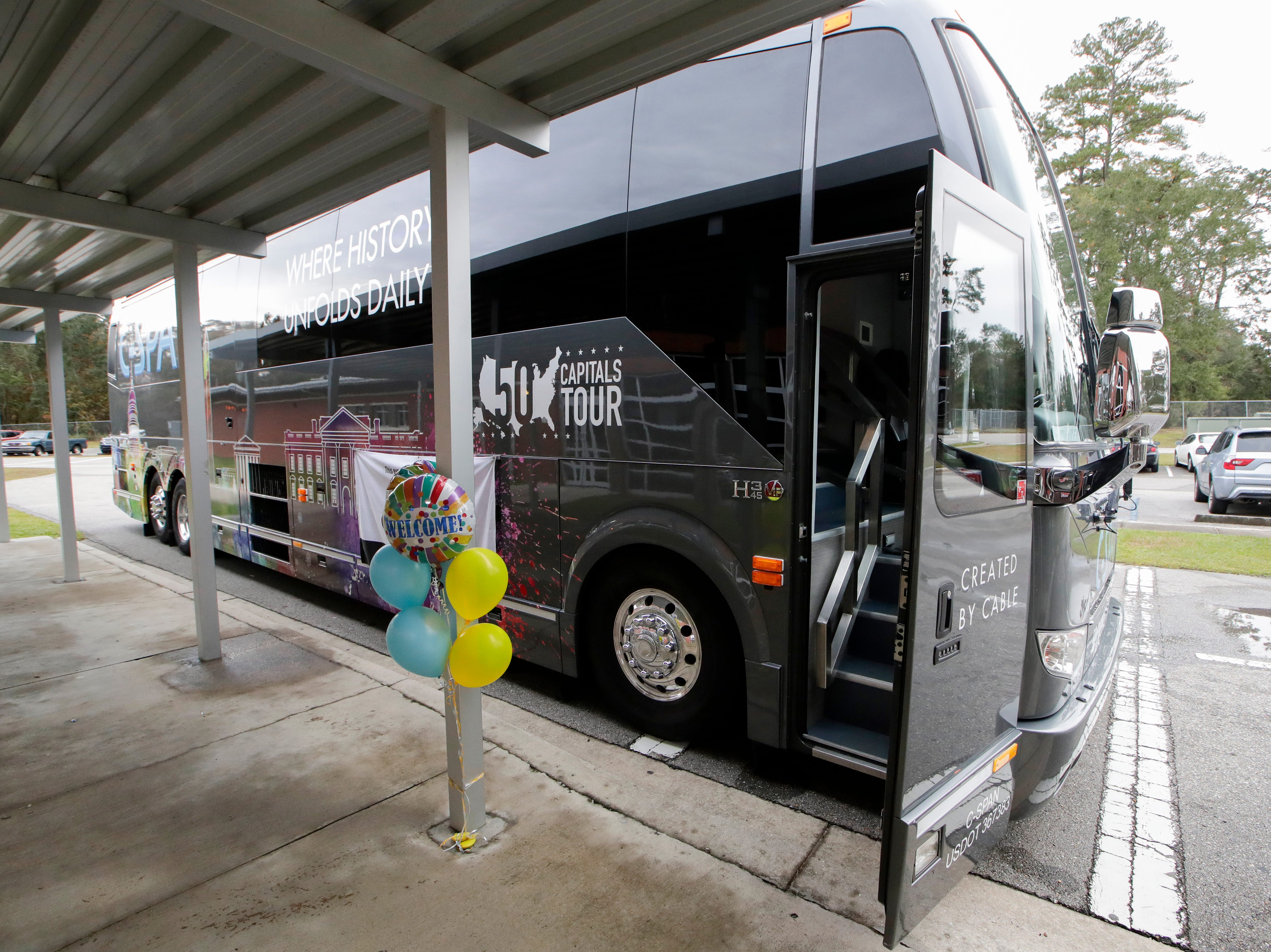 The C-SPAN bus stopped at the Ghazvini Learning Center Monday, Dec. 3, 2018, allowing students at Success Academy and Second Chance school to come aboard the bus and learn about C-SPAN Monday, Dec. 3, 2018.