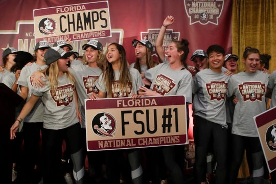 The Florida State University women's soccer team celebrate at a ceremony honoring them as the 2018 NCAA National Champions in the Champions Club West at Doak Campbell Stadium Monday, Dec. 3, 2018.
