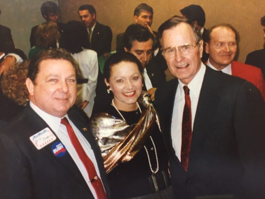 Bill and Carole Jean Jordan pose with George H.W. Bush in Hillsborough County, Florida, during a campaign event for his 1988 presidential candidacy.