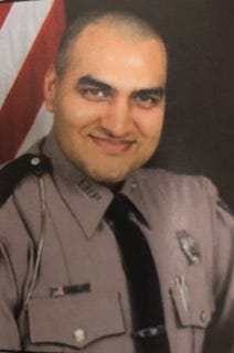 Mithil Patel, a Florida Highway patrol who remains in critical condition after being struck by a car on I-95 on Monday morning.