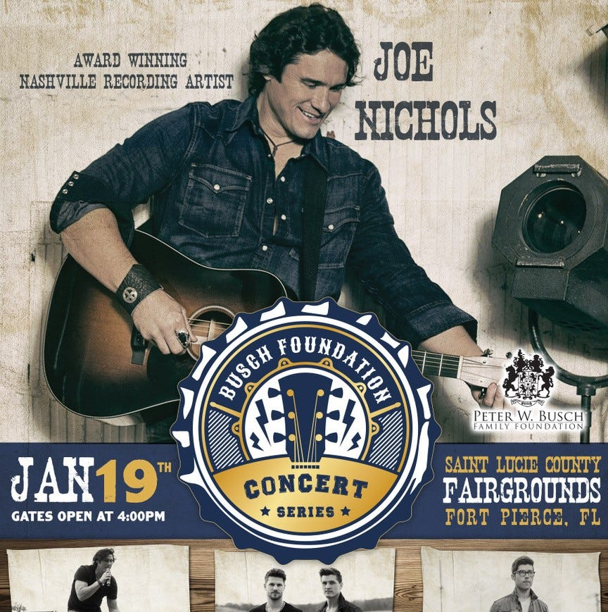 Country music's Joe Nichols to headline inaugural Busch Foundation Concert Jan. 19 at St. Lucie County Fairgrounds