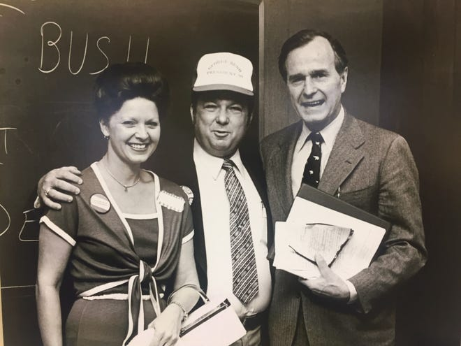 Carole Jean and Bill Jordan, of Vero Beach, pose with George Bush, one of the 1980 presidential candidates, in this picture from 1979.  Bill Jordan chaired Bush's campaign in Indian River County.