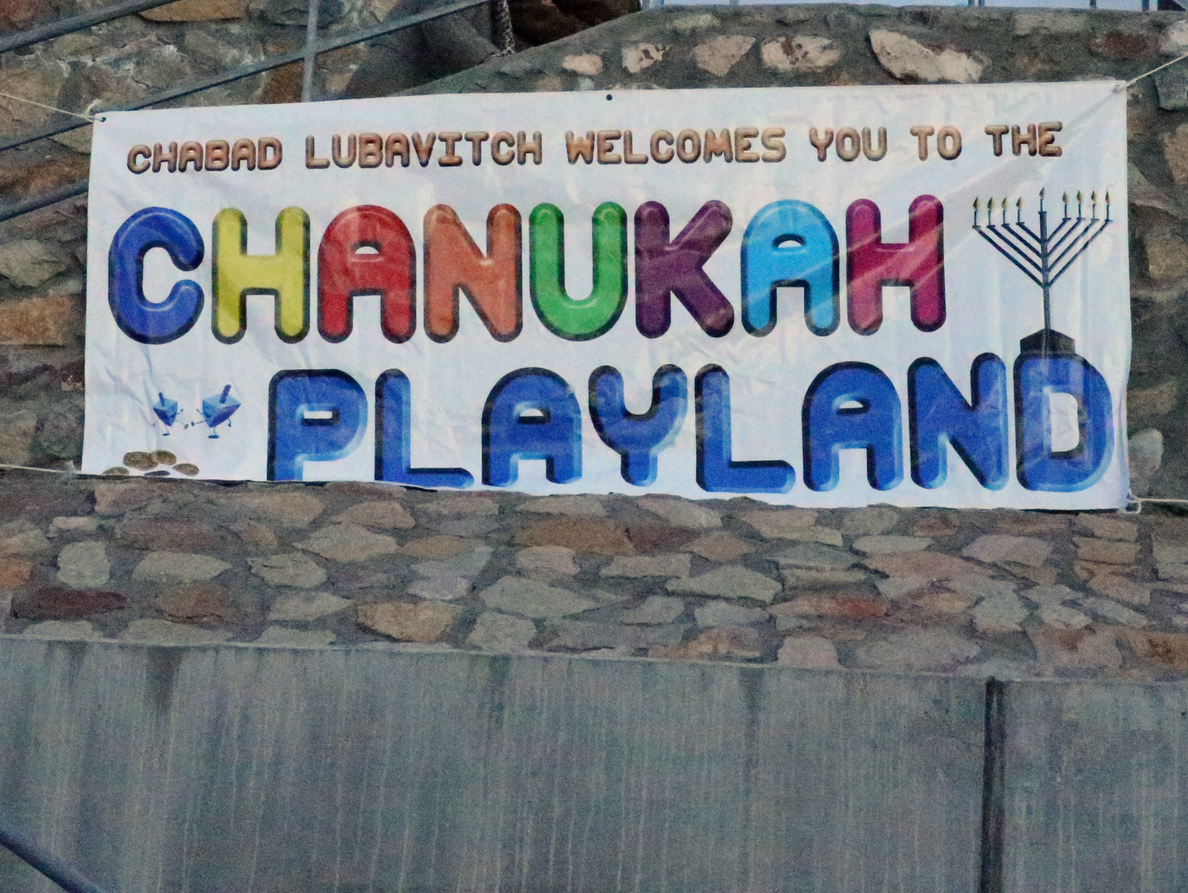 The Chabad Lubavitch Chanukah Playland was held to coincide with the lighting of the Menorah Sunday night at 6613 Westwind Drive.