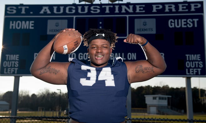 St. Augustine junior defensive tackle/fullback Isaiah Raikes is The Daily Journal Football Player of the Year for 2018.