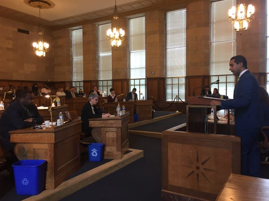 Mount Vernon Mayor Rich Thomas speaks to Westchester County lawmakers in county legislative chambers, Dec. 3, 2018.
