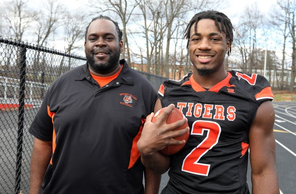 Spring Valley head football coach Andrew Delva with Jayden Cook, Rockland Football Player of the Year Dec. 3, 2018.