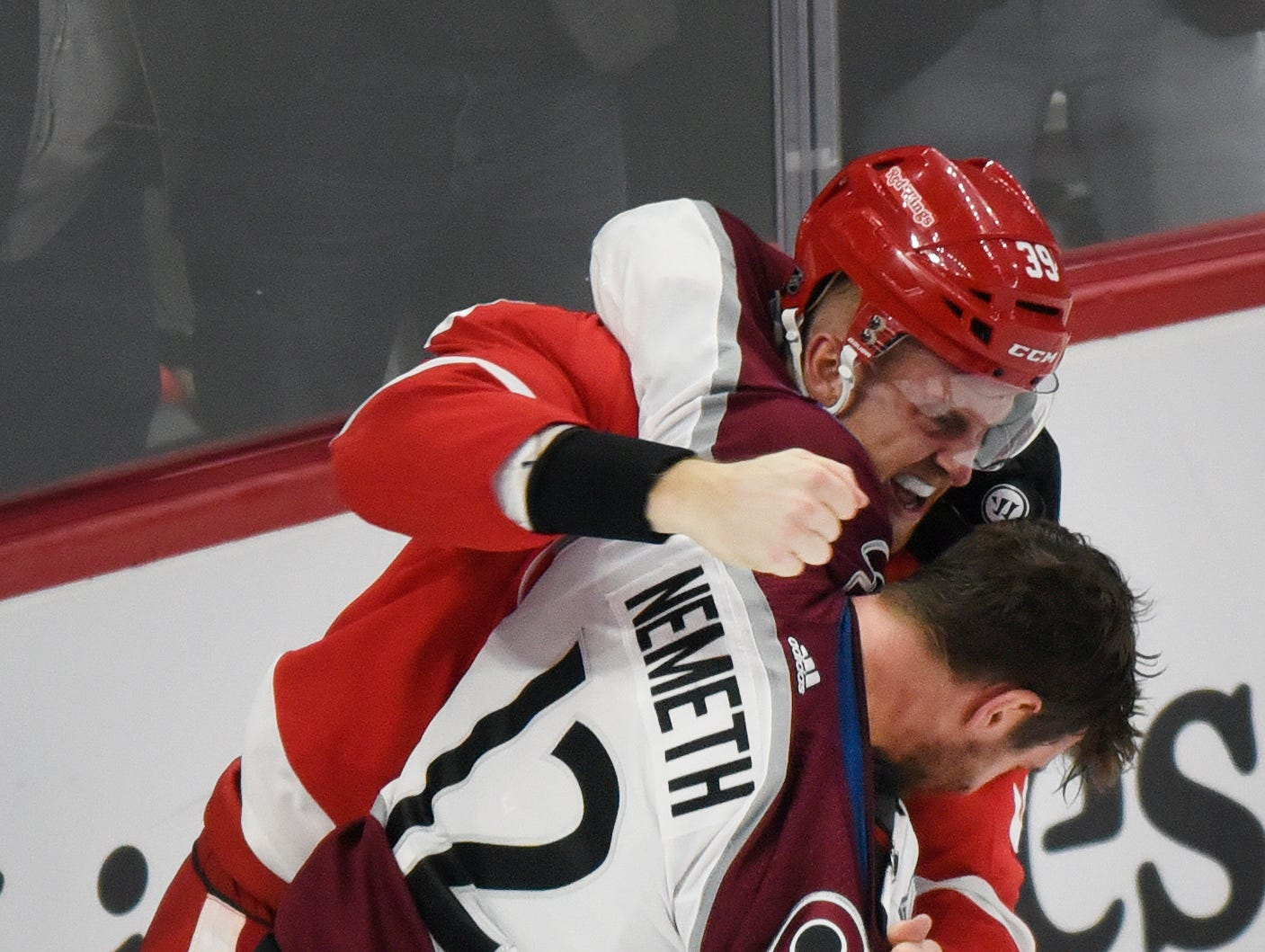 Dec. 2: Detroit Red Wings' Anthony Mantha vs. Colorado Avalanche's Patrik Nemeth.