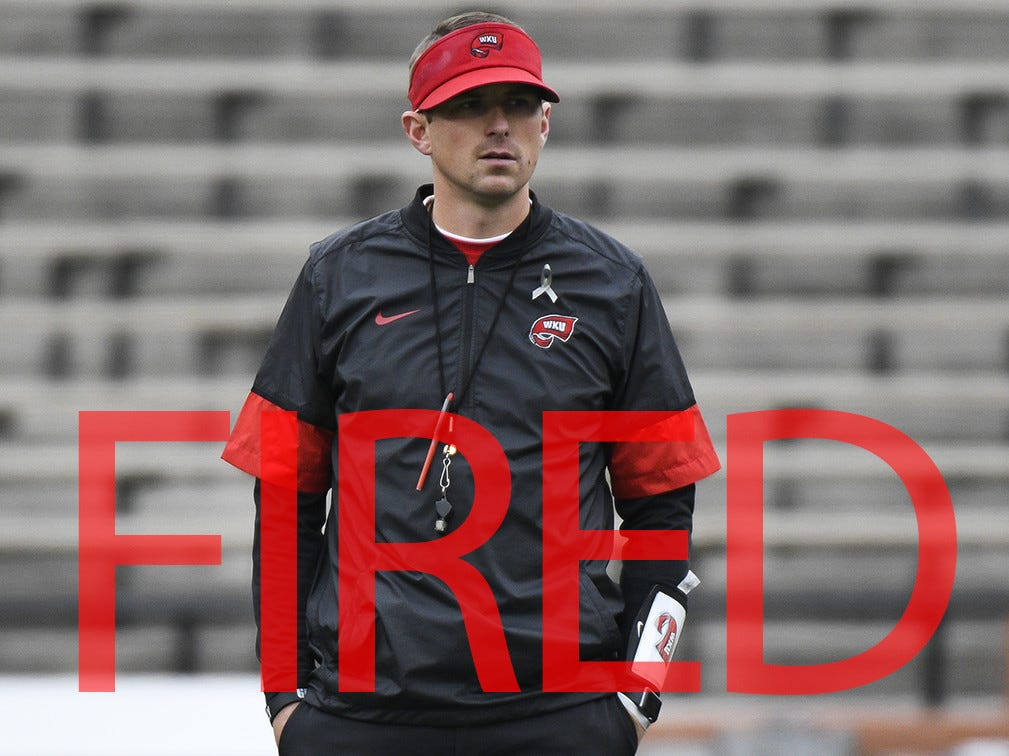 Mike Sanford was fired by Western Kentucky. He went 9-16 in two seasons.