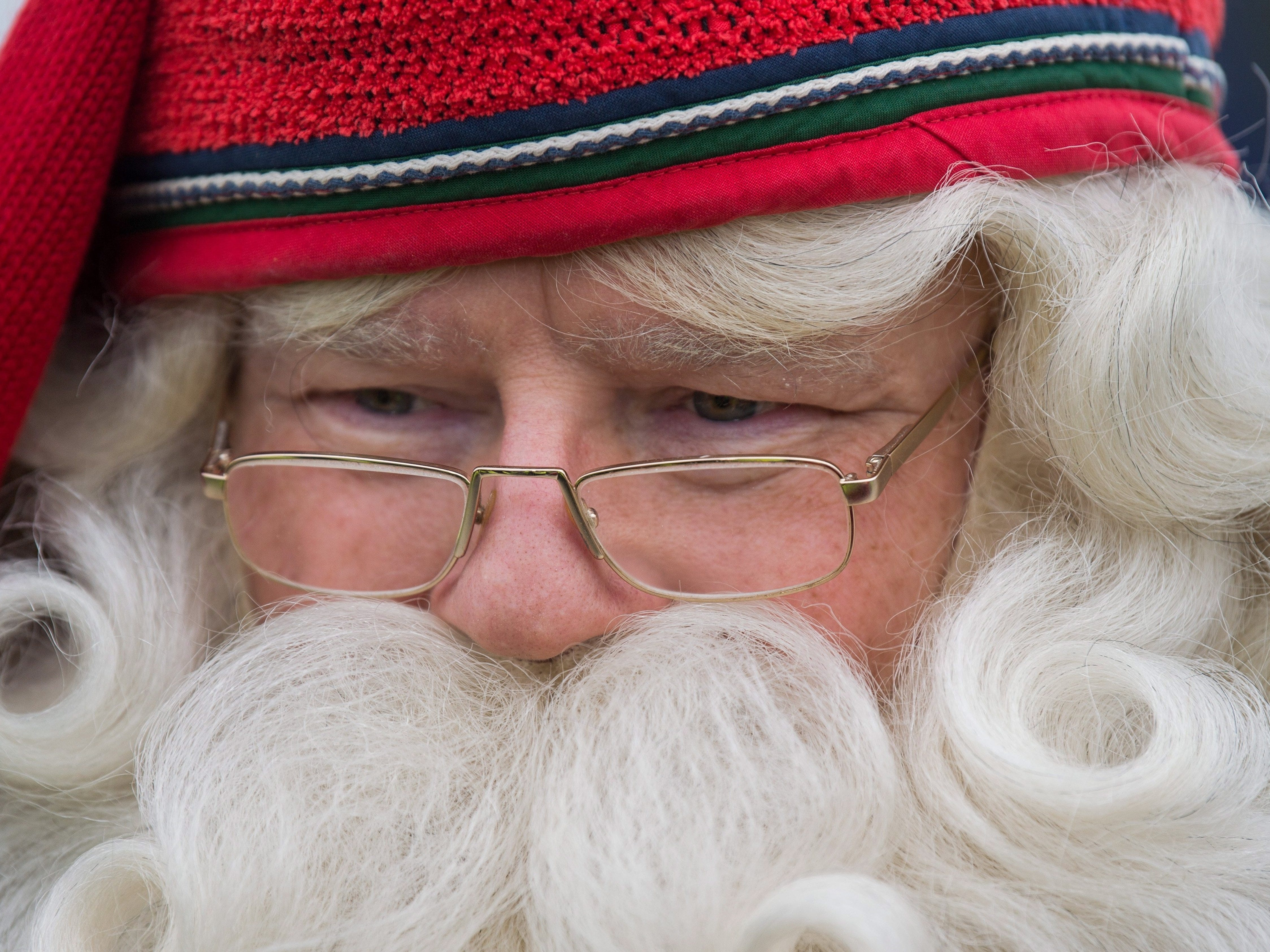 Joulupukki, the Santa Claus from Lappland of Finland is seen upon his arrival at Liszt Ferenc International Airport in Budapest, Hungary, Nov. 29, 2018.