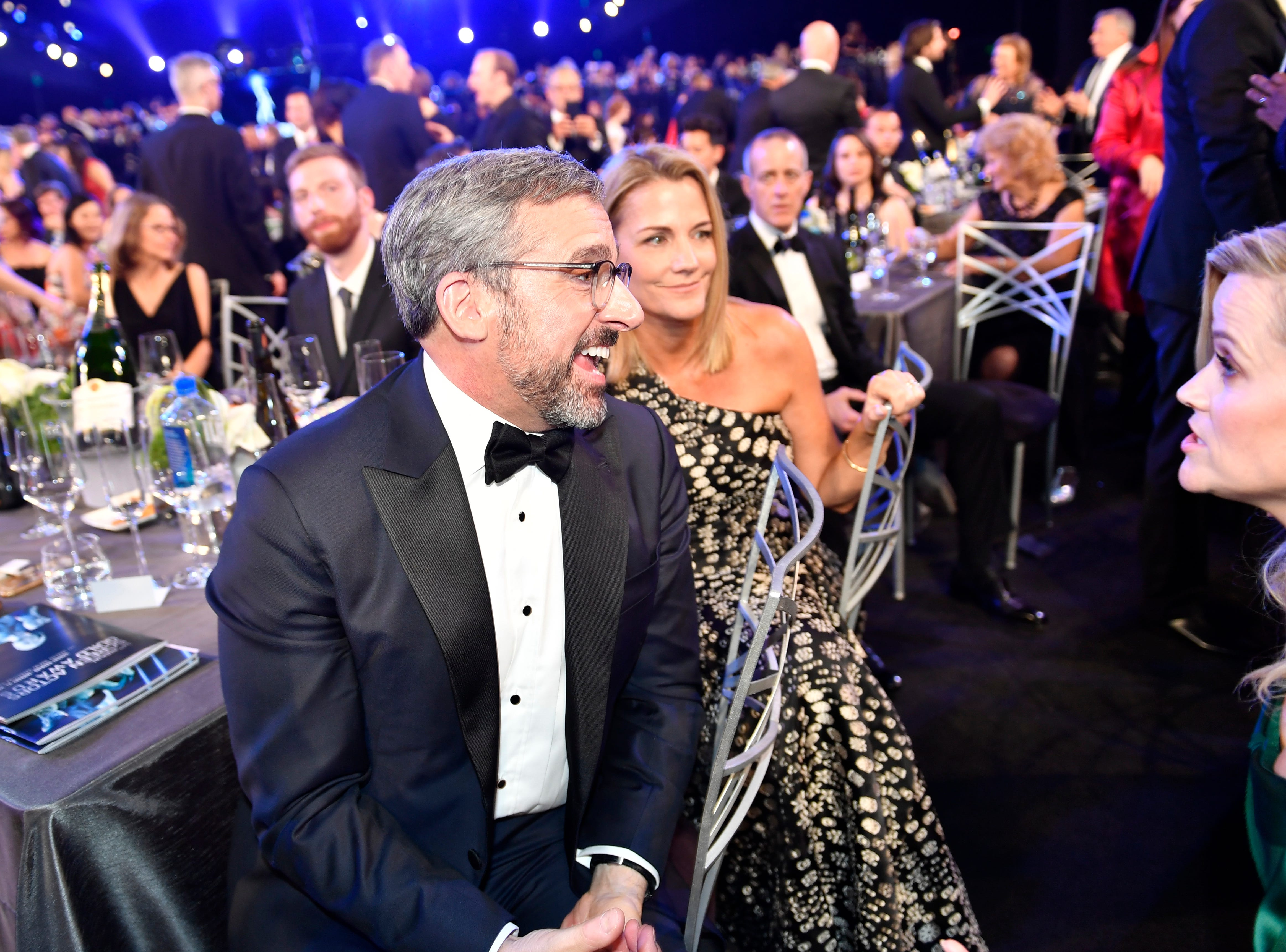 Jan. 21: Steve Carell and Reese Witherspoon chat during a commercial break at the SAG Awards.